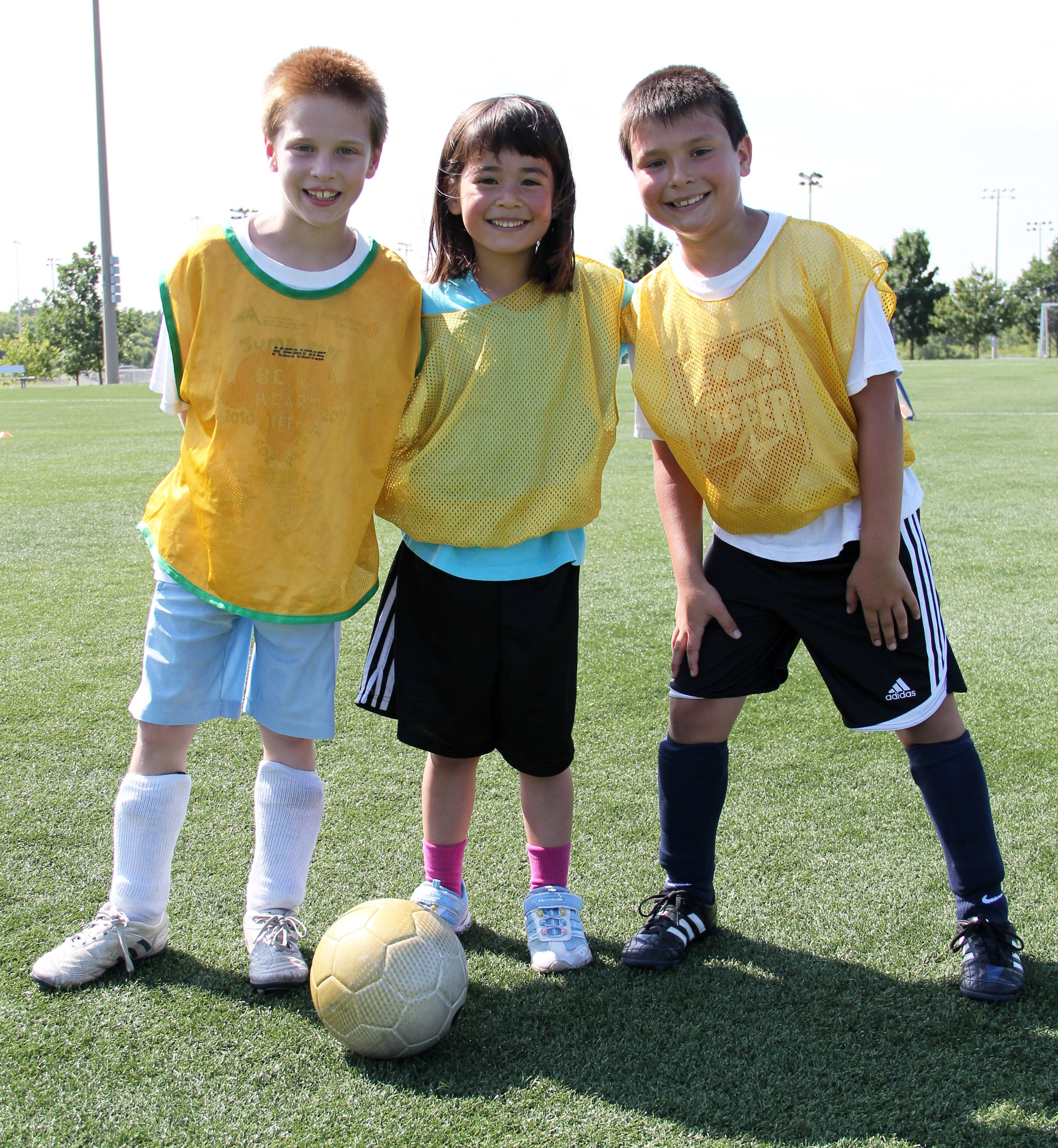 Children play soccer in one of Schaumburg Park District's sports camps.