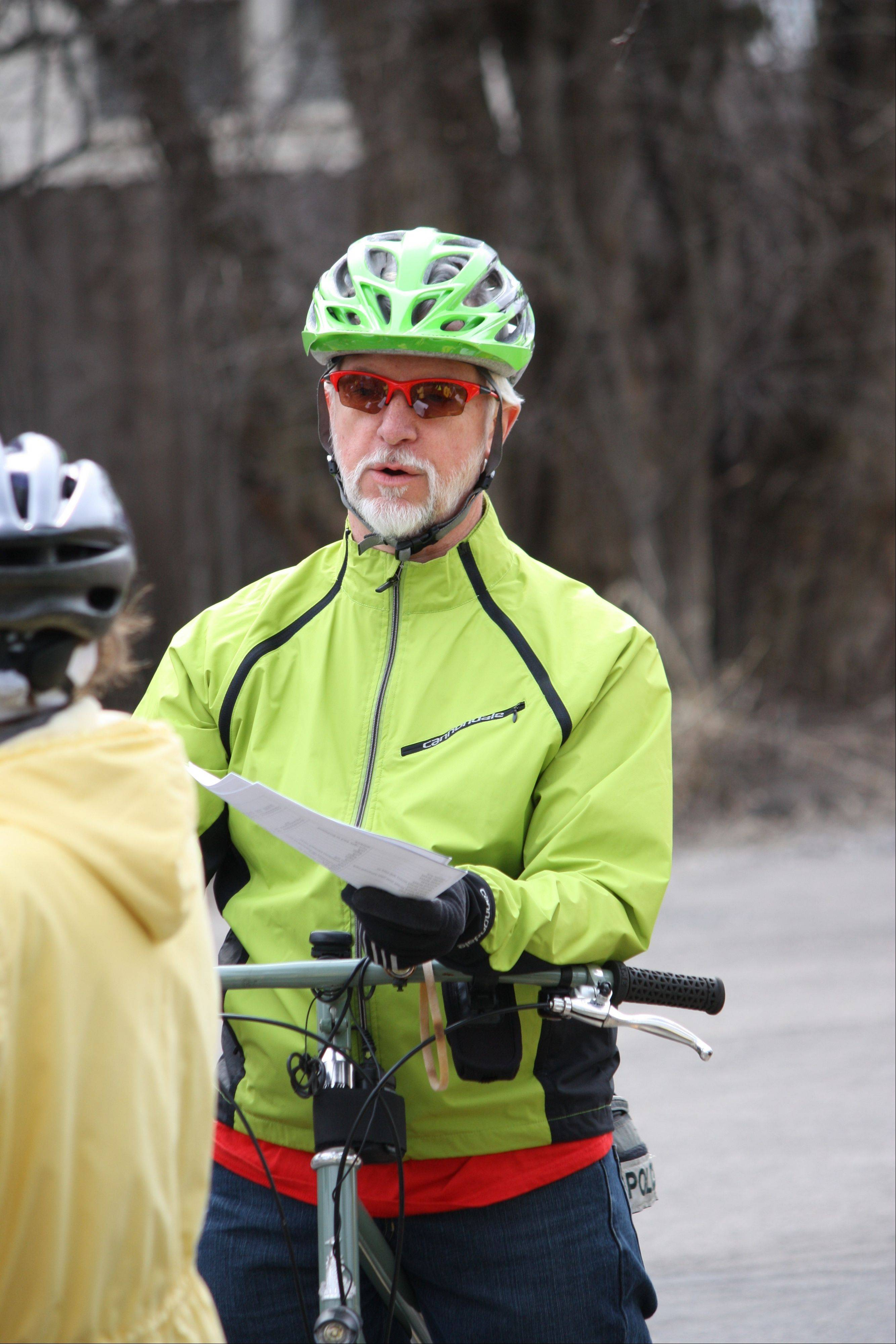 Wayne Mikes from the Palatine Bike Club provides pre-ride instruction for the 12-mile bike ride, part of the Healthy Living event in Palatine April 6.
