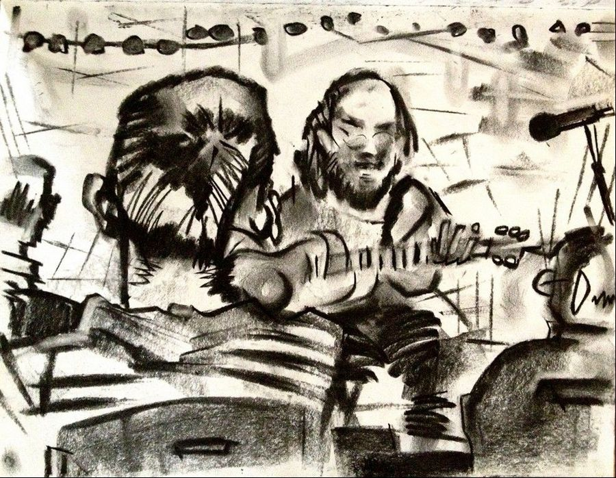 The charcoal drawing by artist Lewis Achenbach captures the call and response between free jazz musicians Edward Wilkerson and Vincent Davis during a recent gig at Multikulti in Chicago.