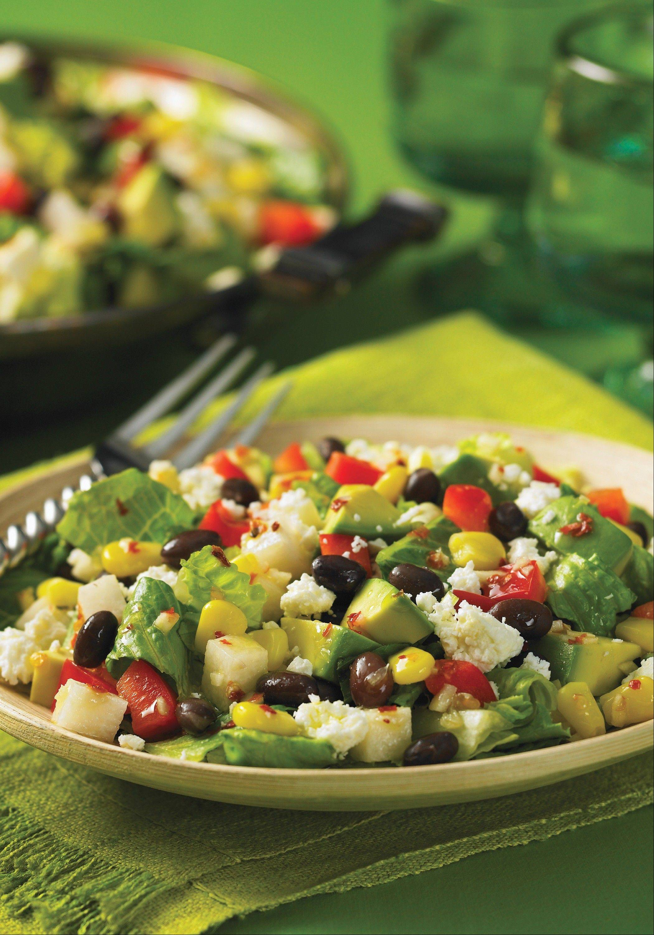 Grated cotija cheese tops a Mexican-style chopped salad.