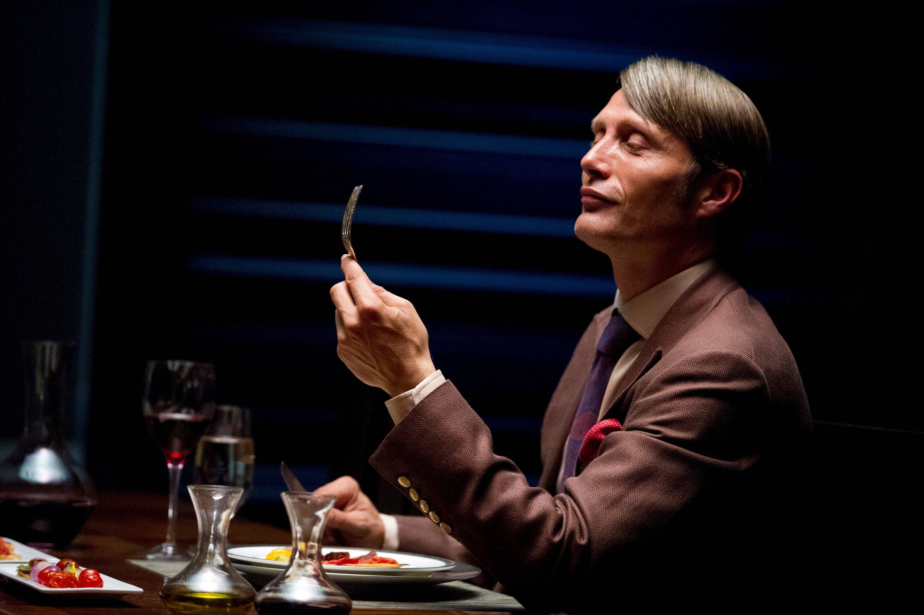 This publicity image released by NBC shows Danish actor Mads Mikkelson as Dr. Hannial Lecter in a scene from �Hannibal.� A Mormon church-owned NBC affiliate in Utah has just pulled the series because of its graphic violence.