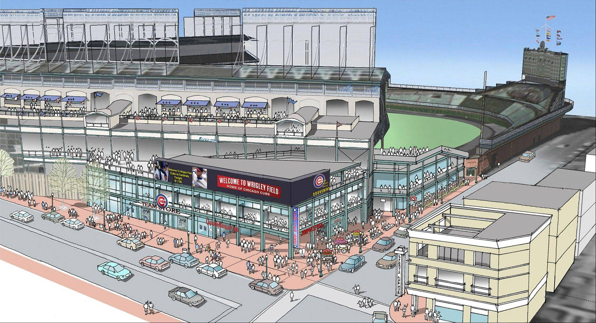 This artist rendering provided Wednesday by the Cubs shows renovations planned at Wrigley Field. Part of the $500 million renovation plan for the 99-year-old stadium is to build an exterior plaza at the corner of Addison and Sheffield.