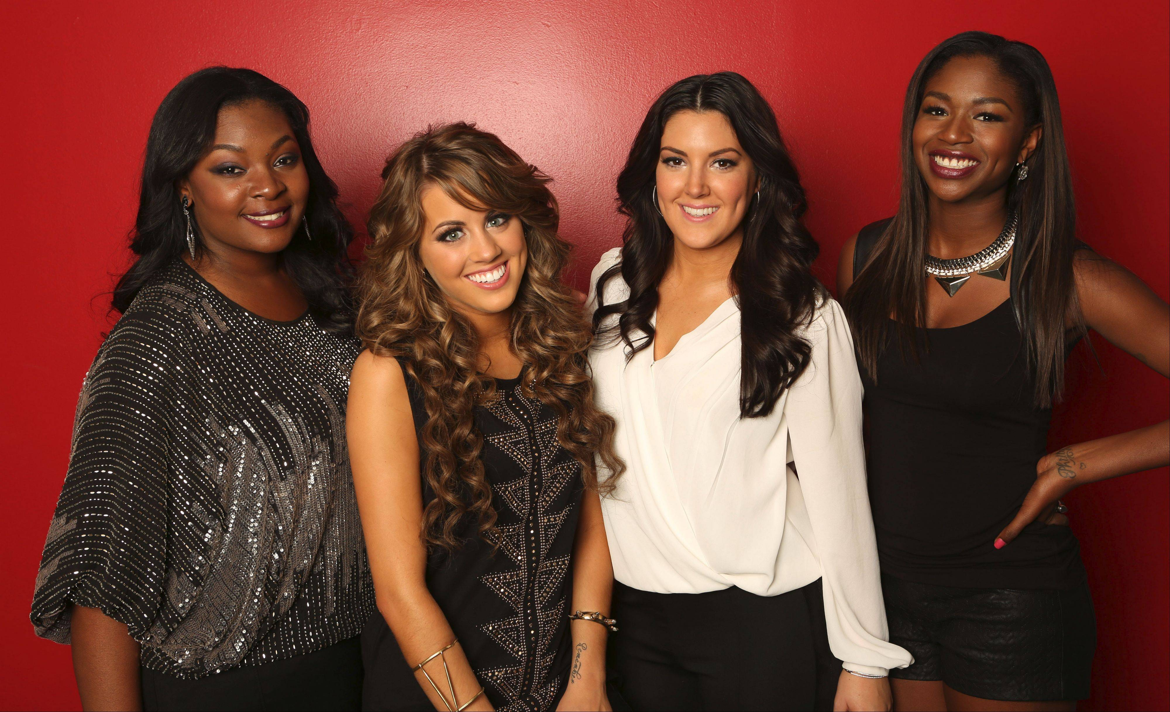 "Candice Glover, left, Angie Miller, Kree Harrison and Amber Holcomb are four of the top 10 finalists on this season's ""American Idol"" who will be part of the ""American Idol Live 2013 Tour"" on Saturday, July 6, at the Allstate Arena in Rosemont."