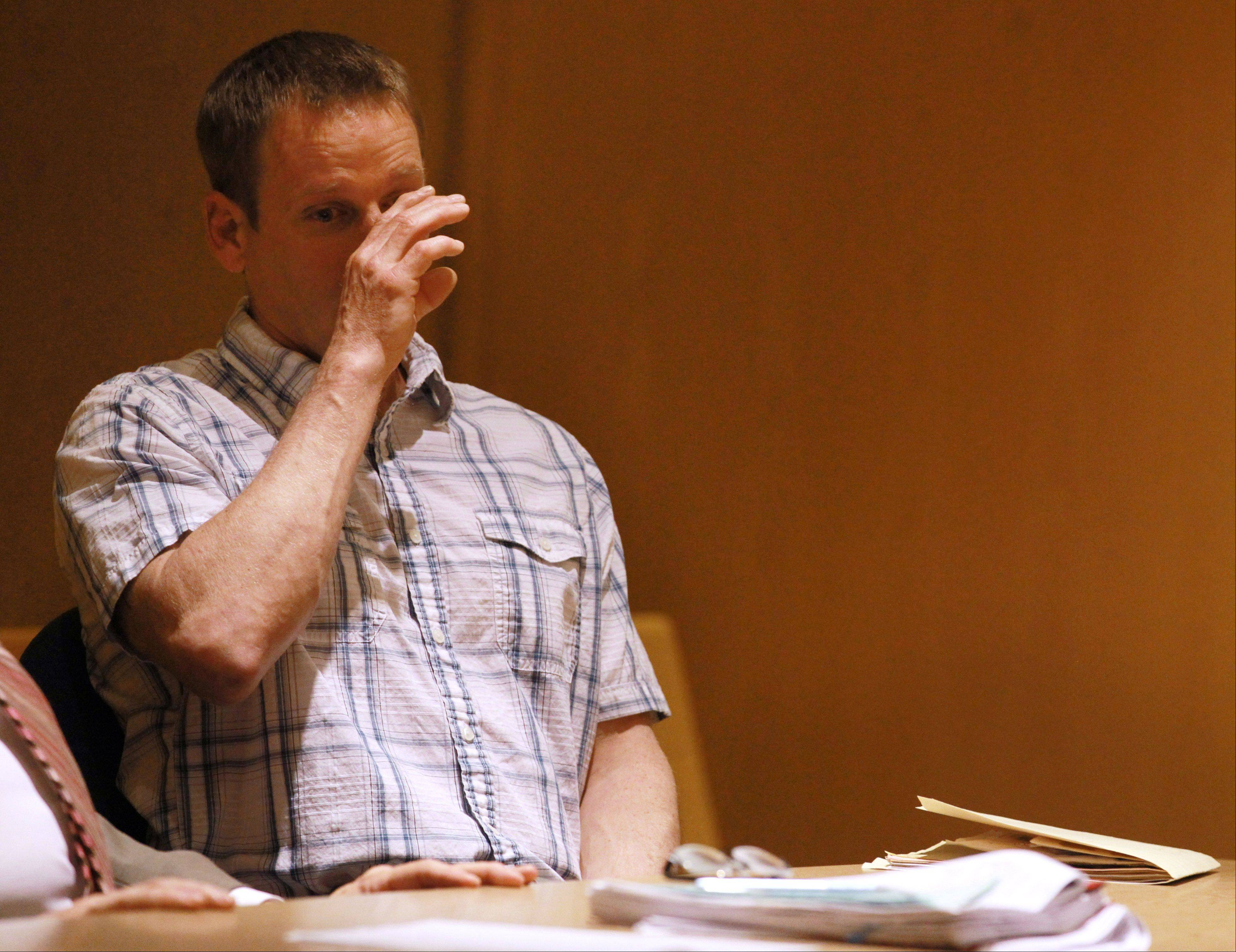 Timothy Morrow, 43, of Round Lake Beach pleads for mercy before Lake County Judge Brian P. Hughes during his sentencing hearing on Wednesday. Hughes sentenced Morrow to 13 years for his eighth DUI conviction.