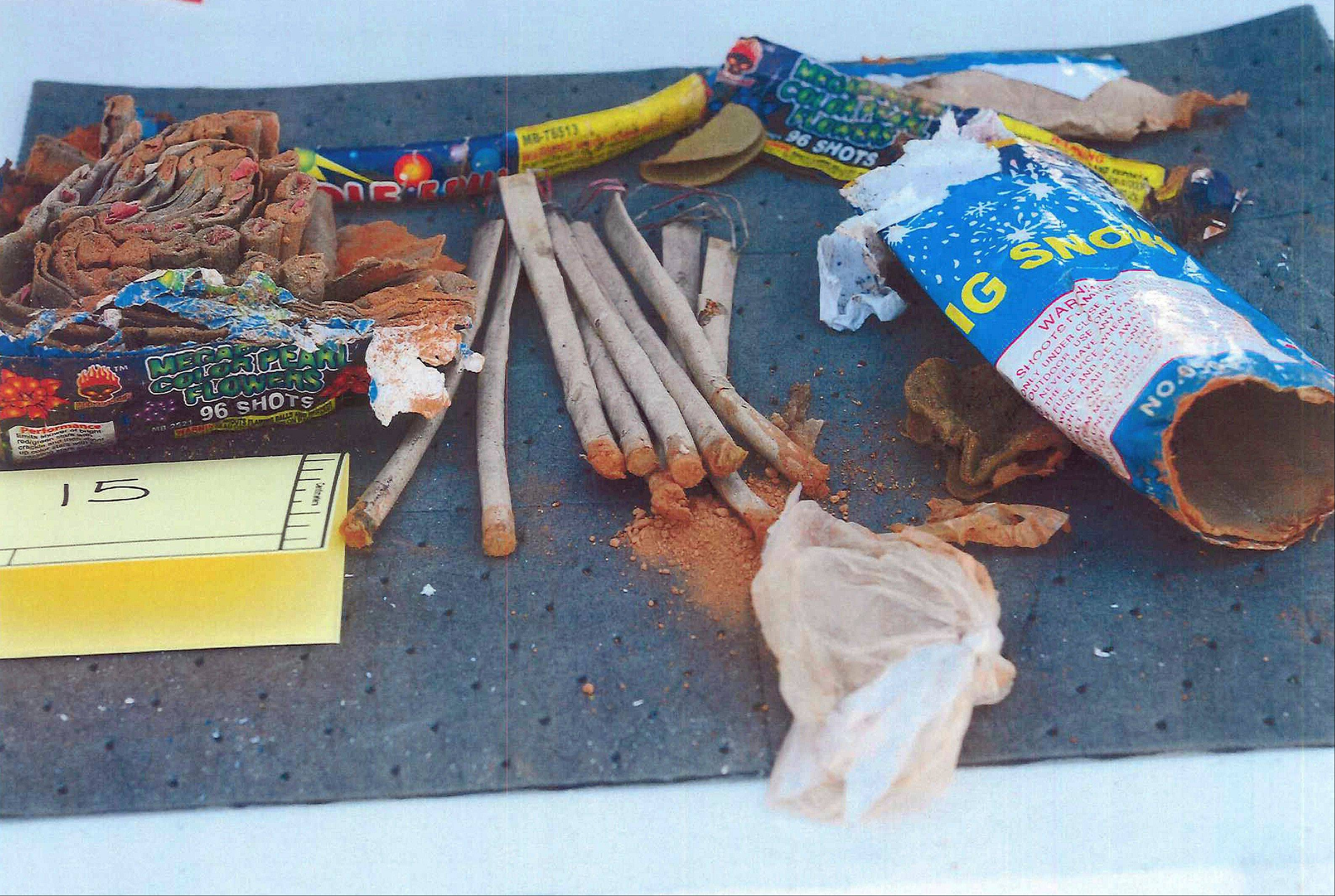 This photo released Wednesday by the U.S. Attorney's office shows fireworks that the office says federal agents recovered from inside a backpack belonging to Boston Marathon bombing suspect Dzhokhar Tsarnaeva, found in a landfill in New Bedford, Mass.