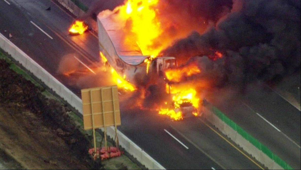 A fiery crash on Interstate 90 near Route 20 early Wednesday morning closed down the roadway in both directions for several hours.