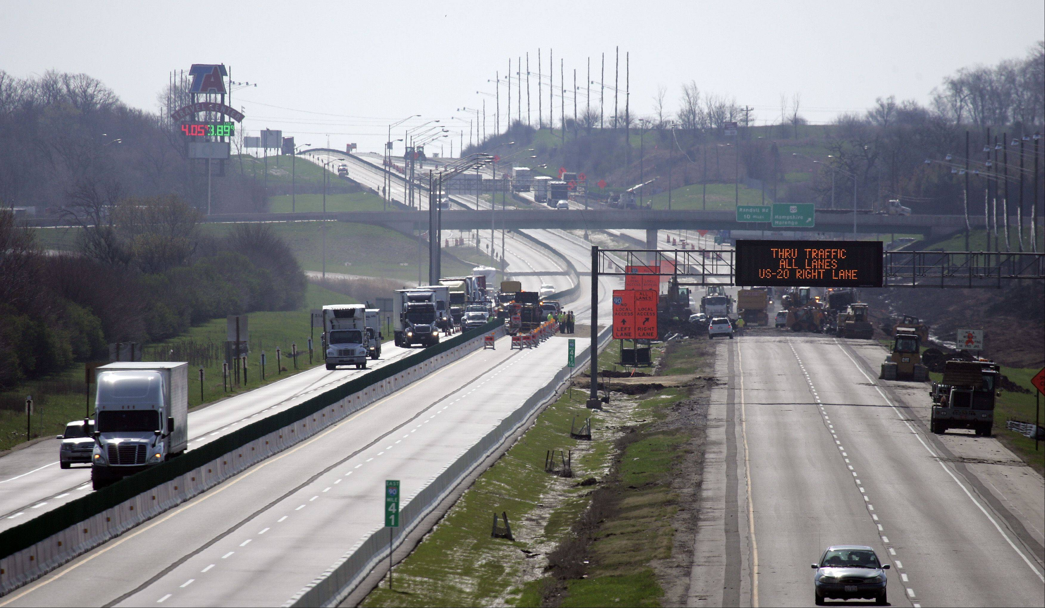Eastbound traffic is nonexistent just west of the Hampshire interchange on Interstate 90 following a crash and fire early Wednesday.