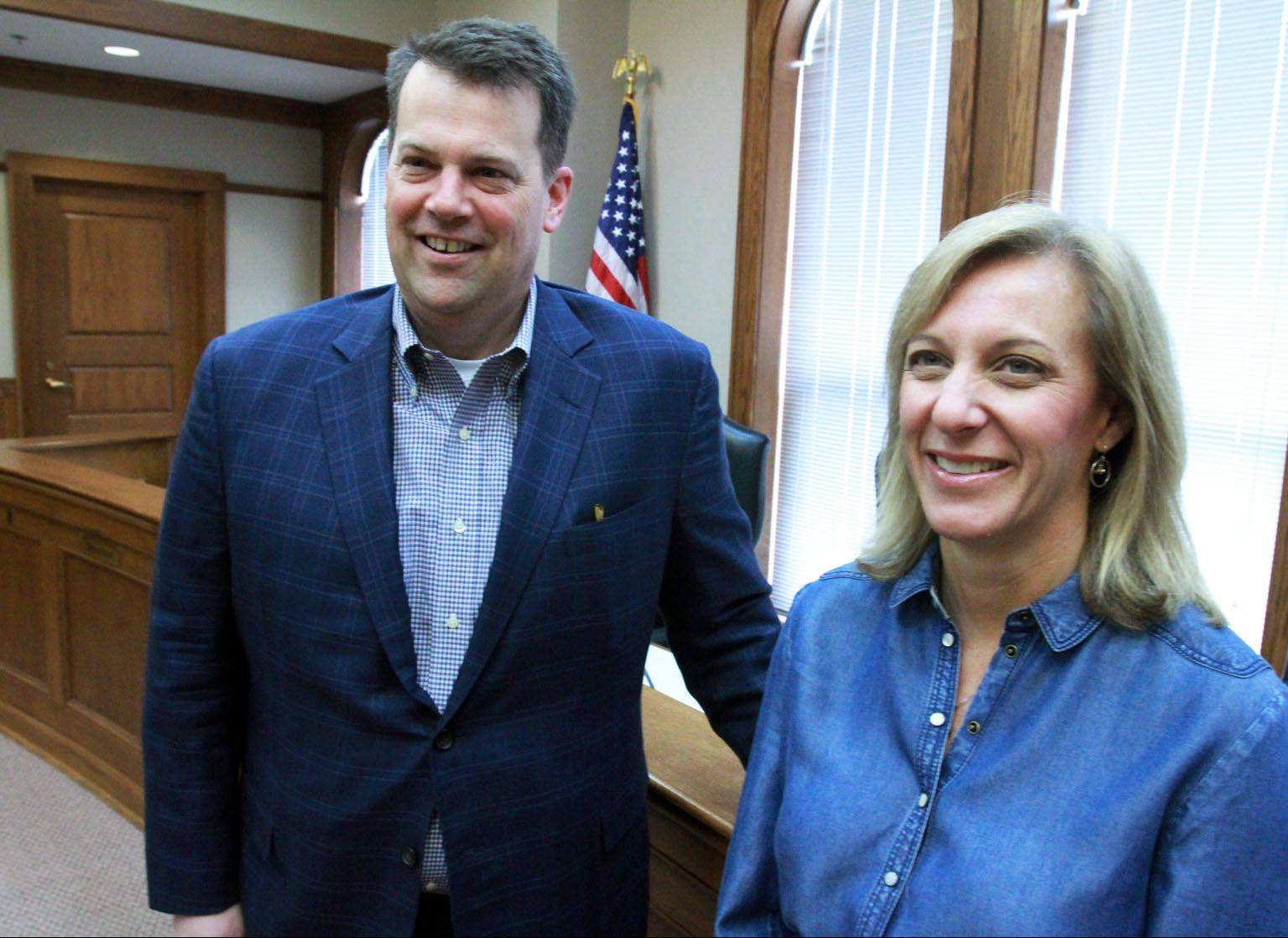 New Barrington village trustees Pete Douglas and Sue Padula will be sworn in at the village board meeting of Monday, May 13. Both won election April 9 in uncontested races.