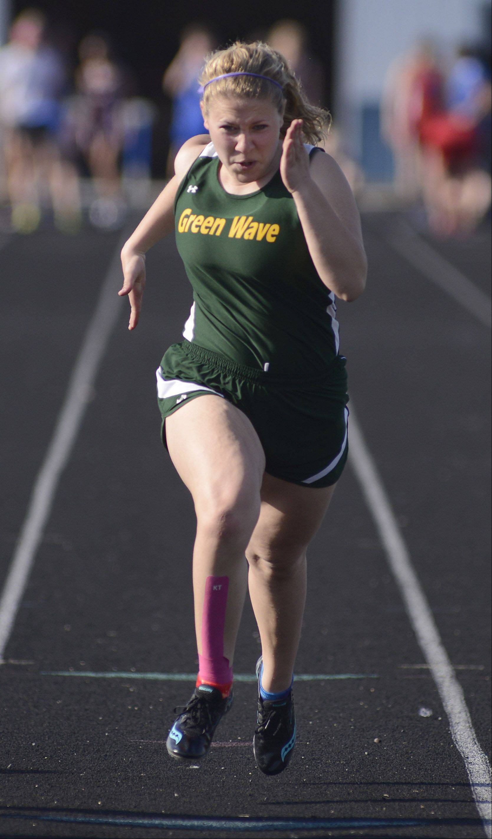 St. Edward's Clarissa Olenek in the first heat of the 100 meter dash at the Suburban Christian Conference on Wednesday, May 1.