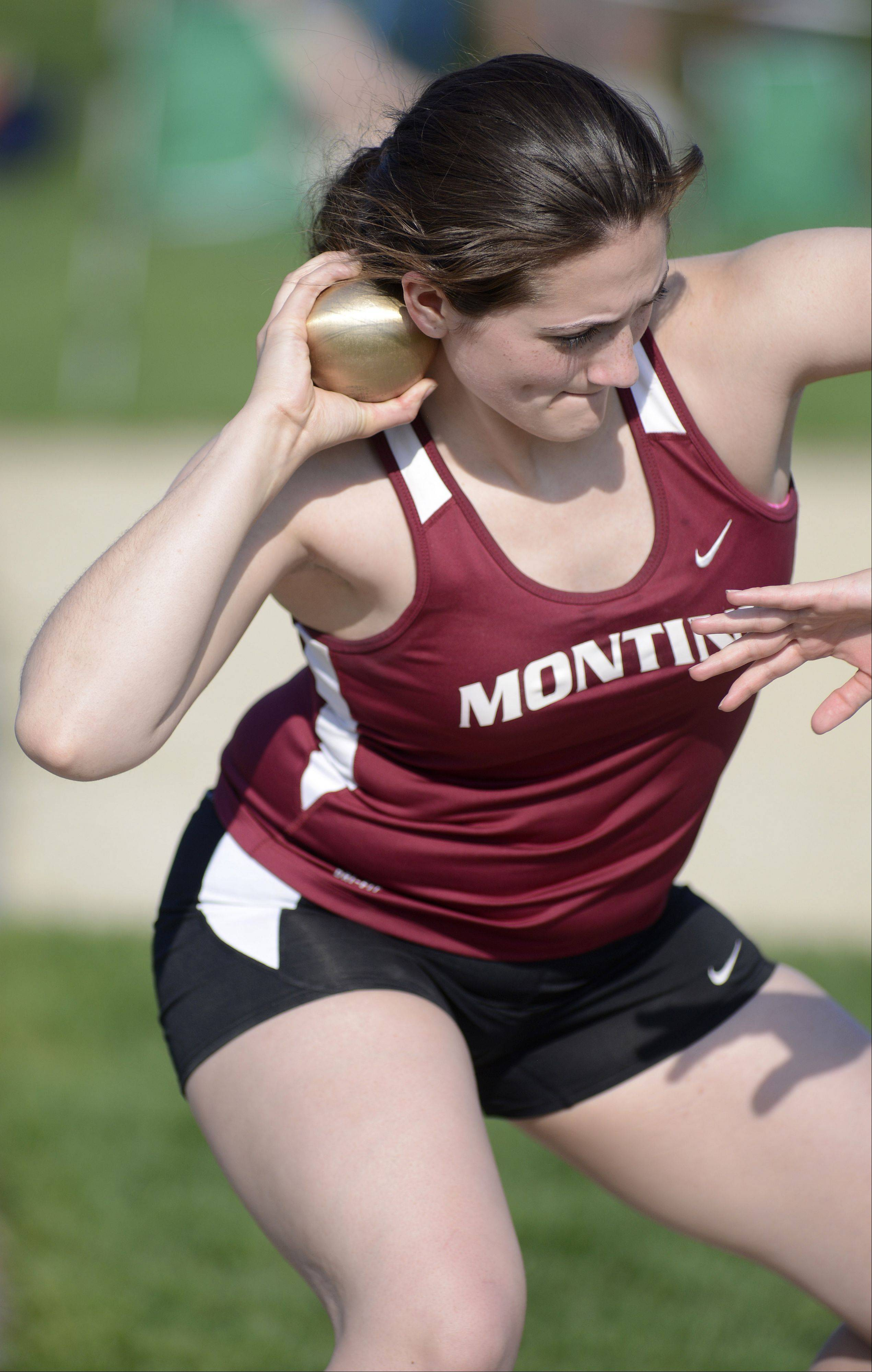 Montini's Sarah Dopp in the shot-put competition at the Suburban Christian Conference on Wednesday, May 1.