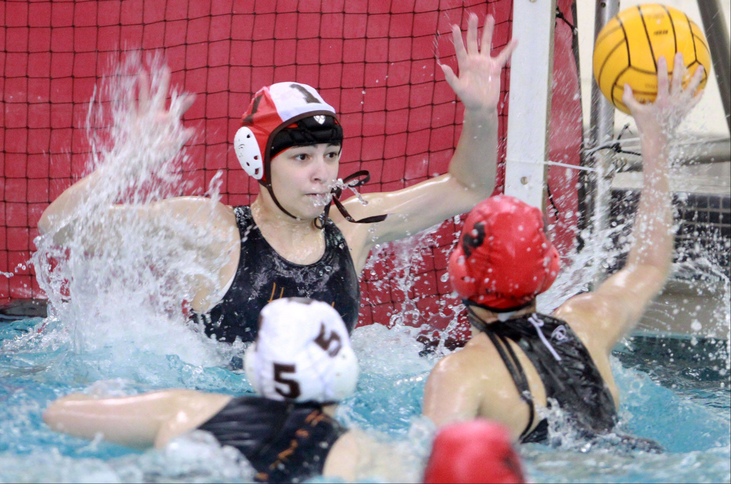 Barrington's Lisa Danhauer scores against Hersey goalie Natalie Curtis during the MSL championship game at Barrington on Wednesday.