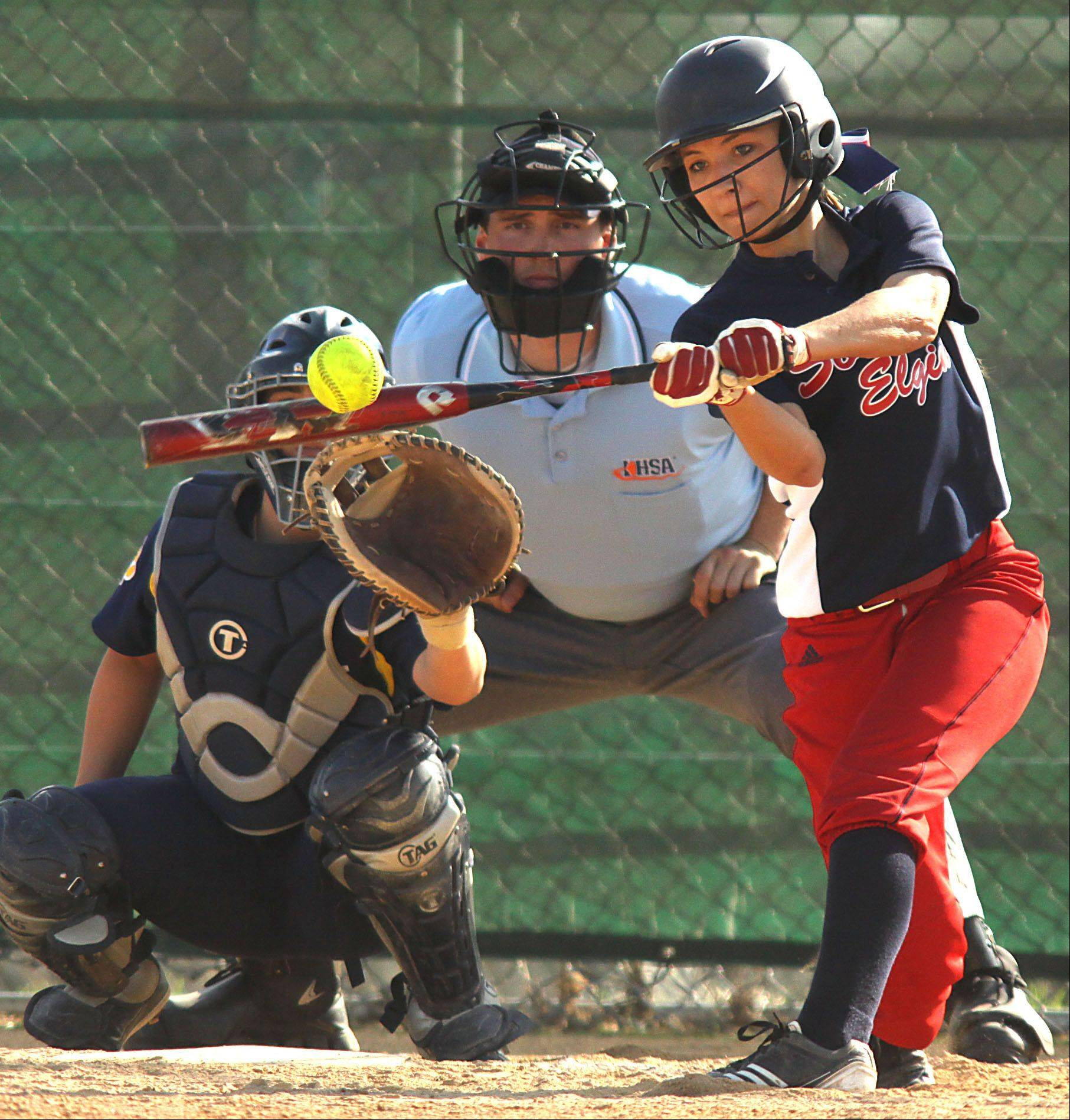 South Elgin's Mallory Mecklenburg connects for a double against Neuqua Valley at South Elgin Wednesday.