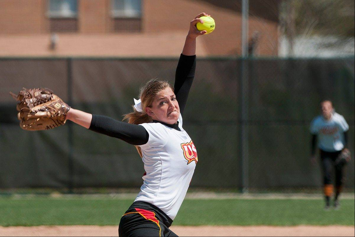 Elgin High grad Hannah Perryman broke the Missouri-St. Louis single-season strikeout record last weekend when she recorded her 299th K of the year. She is a freshman at UMSL