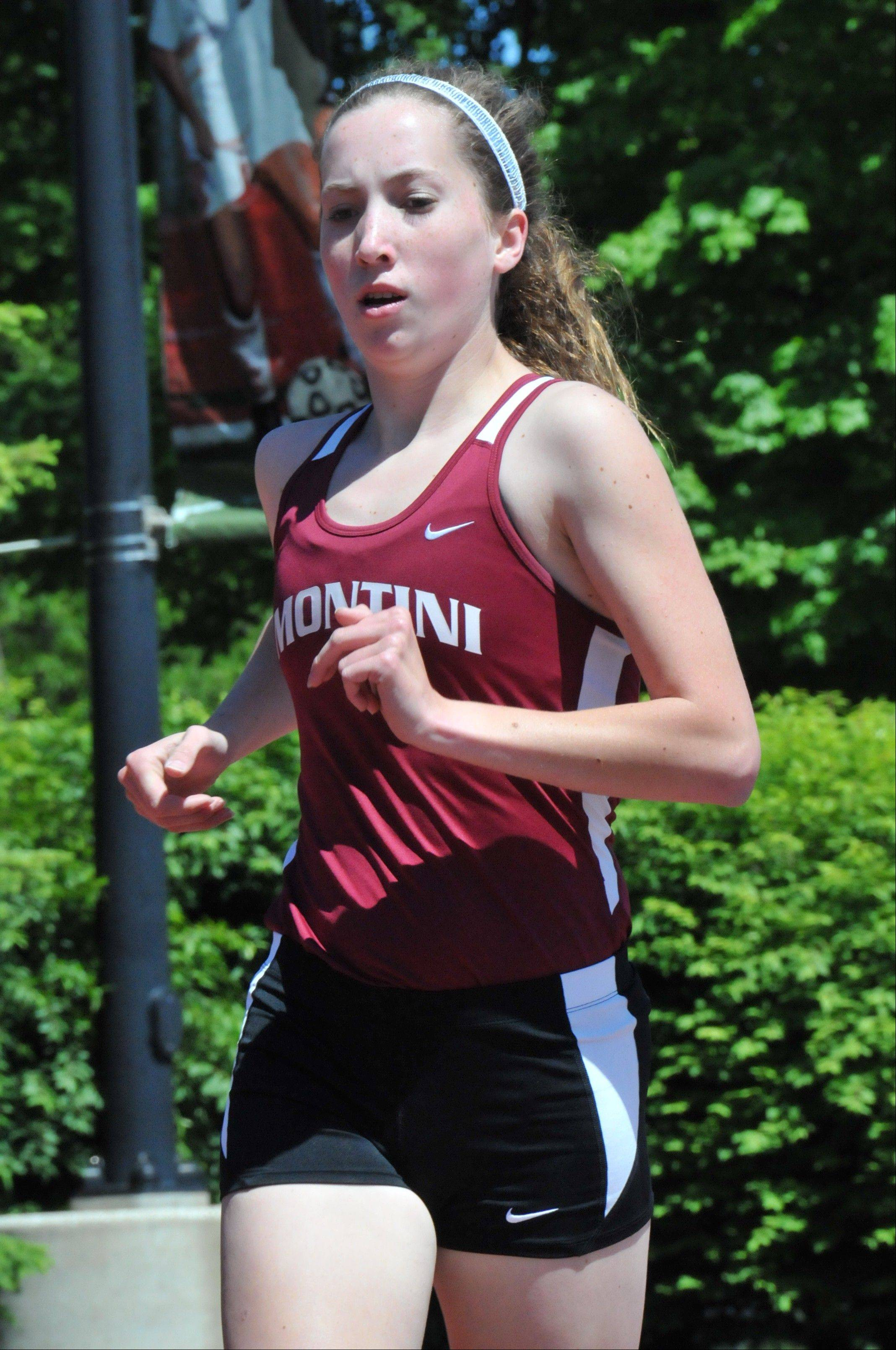 Montini senior distance runner Catherine Kitz placed 34th at last fall's Class 2A cross country meet and runs on the school track team.