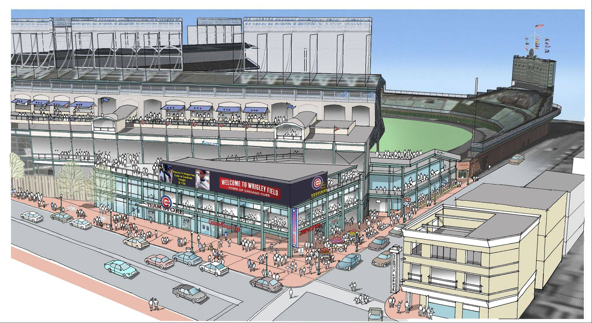 This artist rendering shows renovations planned at Wrigley Field. Part of the $500 million renovation plan for the 99-year-old stadium is to build an exterior plaza at the corner of Addison and Sheffield.