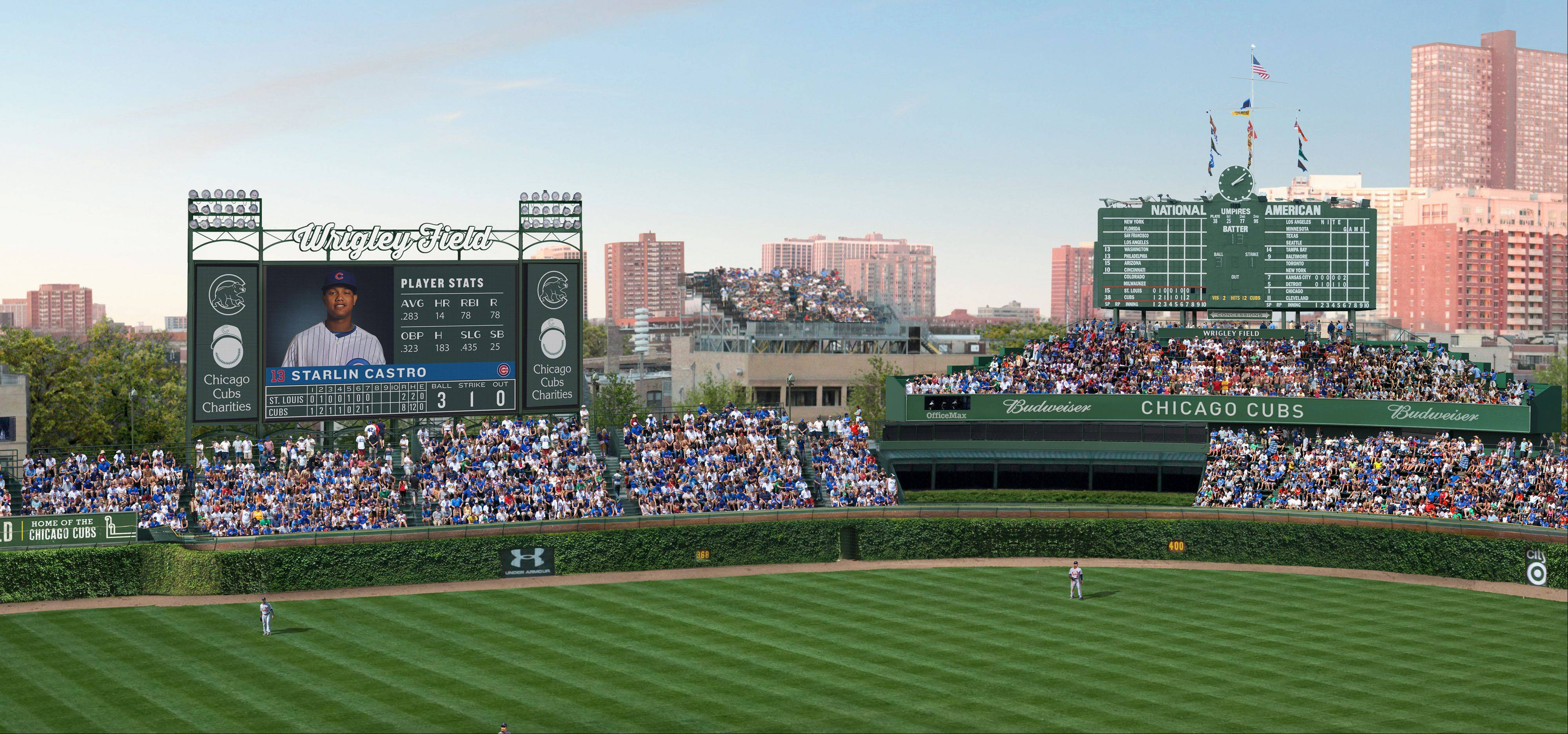 This artist rendering shows renovations planned at Wrigley Field. Part of the $500 million renovation plan for the 99-year-old stadium is to erect a 6,000-square-foot video screen over left field.
