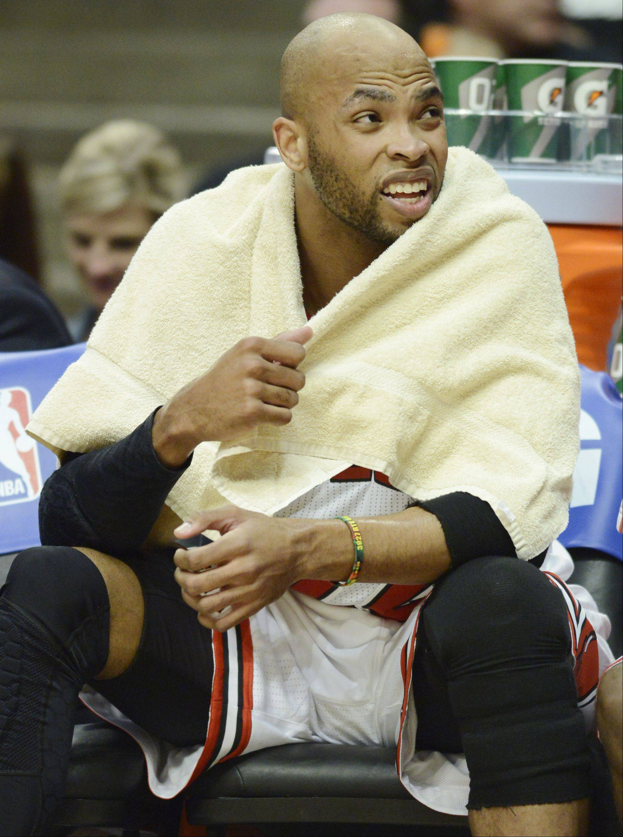Taj Gibson of the Chicago Bulls sits on the bench after drawing his sixth foul in Game 6 of the first round playoff game against the Brooklyn Nets at the United Center in Chicago, Thursday, May 2, 2013.