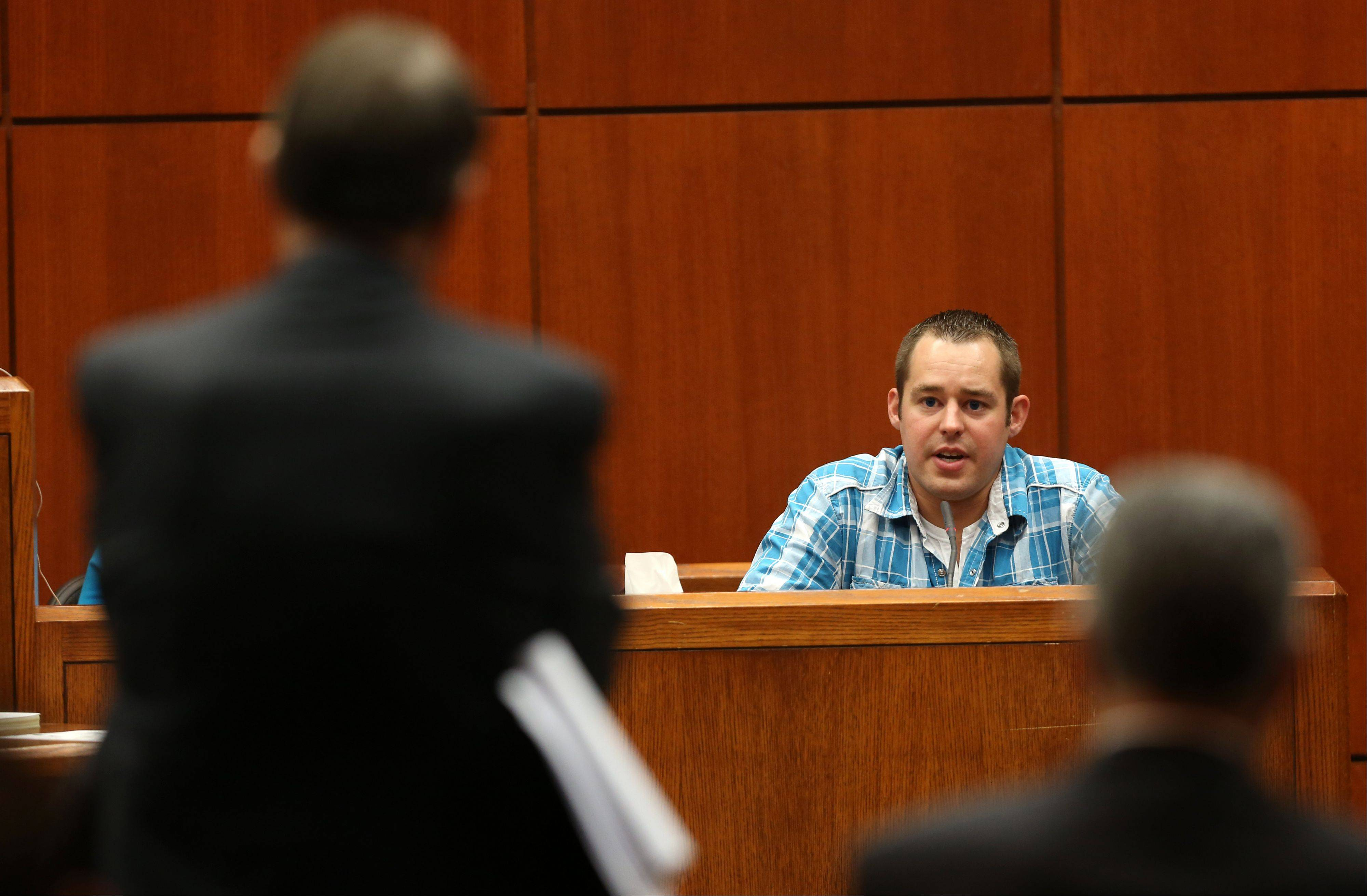 Derek Janssen, former mechanic at Bill Jacobs BMW in Naperville, testifies Thursday at the Johnny Borizov trial in Wheaton.