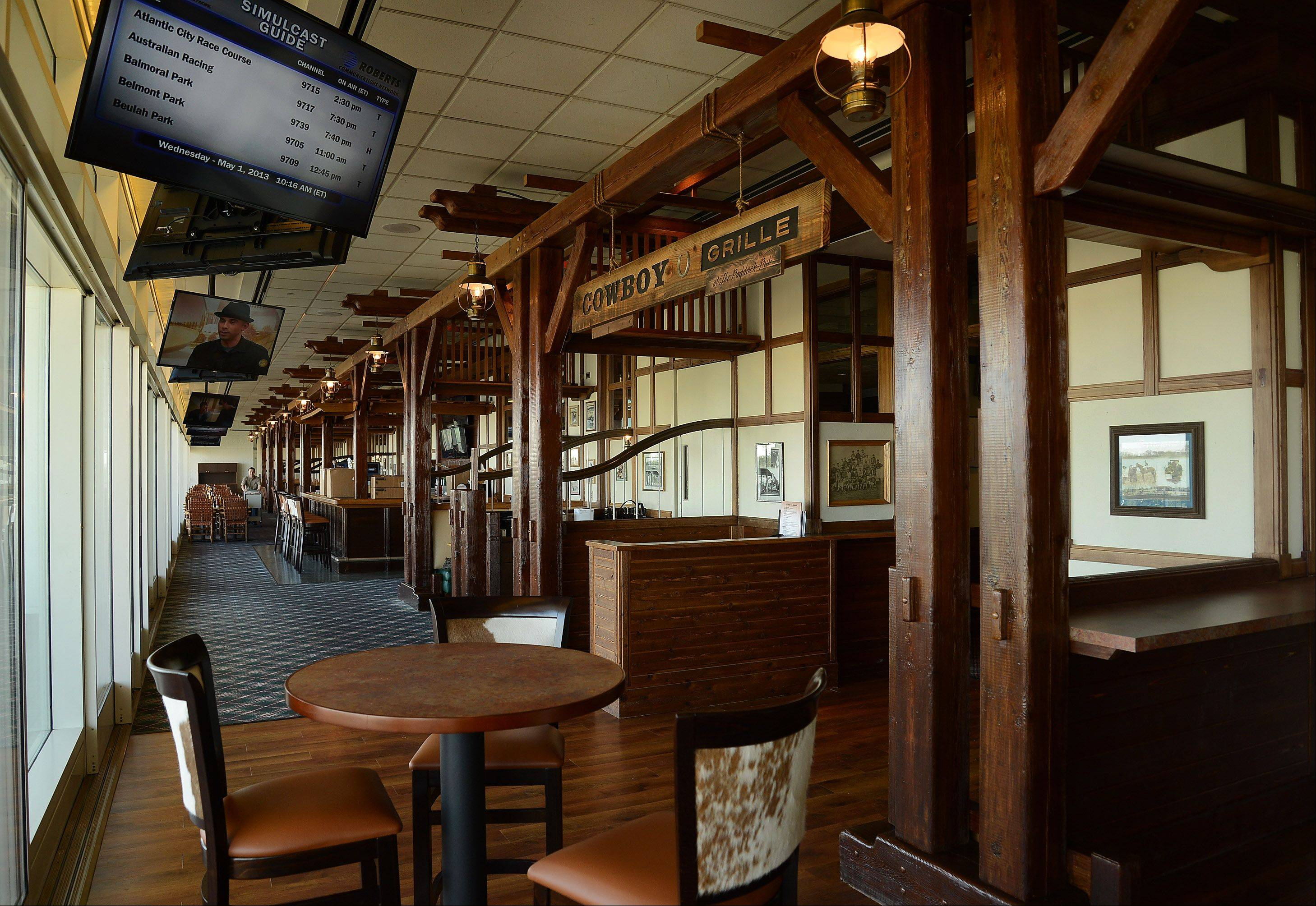 The new Cowboy Grille, which replaces the Paddock Pub this season is ready to open in preparation for opening day at Arlington International Racecourse.
