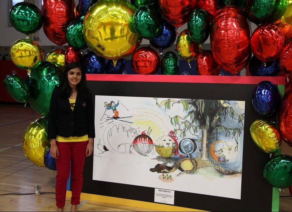 South Barrington's Meg Mehta, 13, is Illinois' winner in the national Doodle 4 Google competition. If she wins on the national level, she gets a college scholarship.