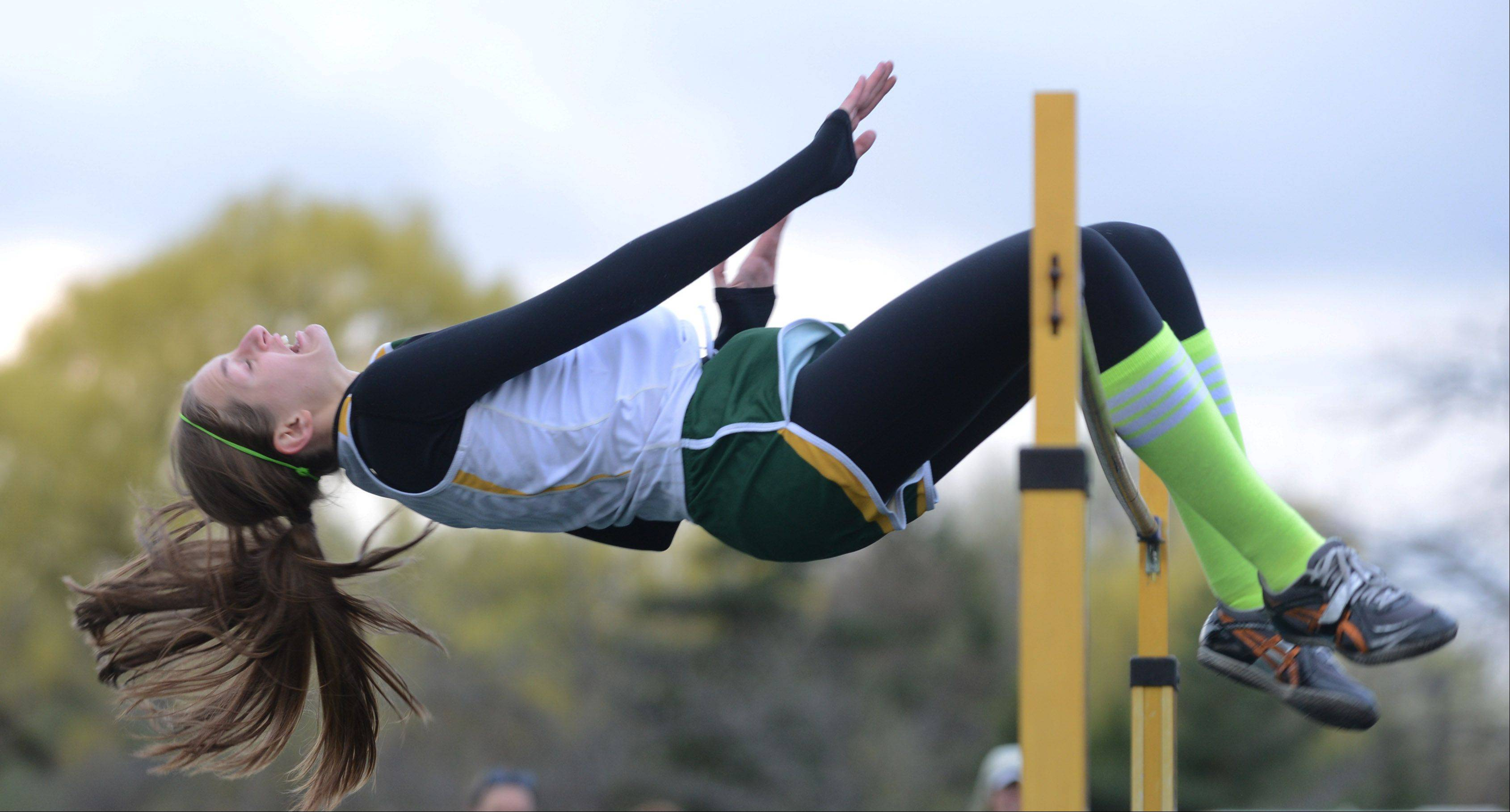 Stevenson's Jackie Setina won first place in the high jump competition at Thursday's North Suburban Conference girls track meet n Lincolnshire.