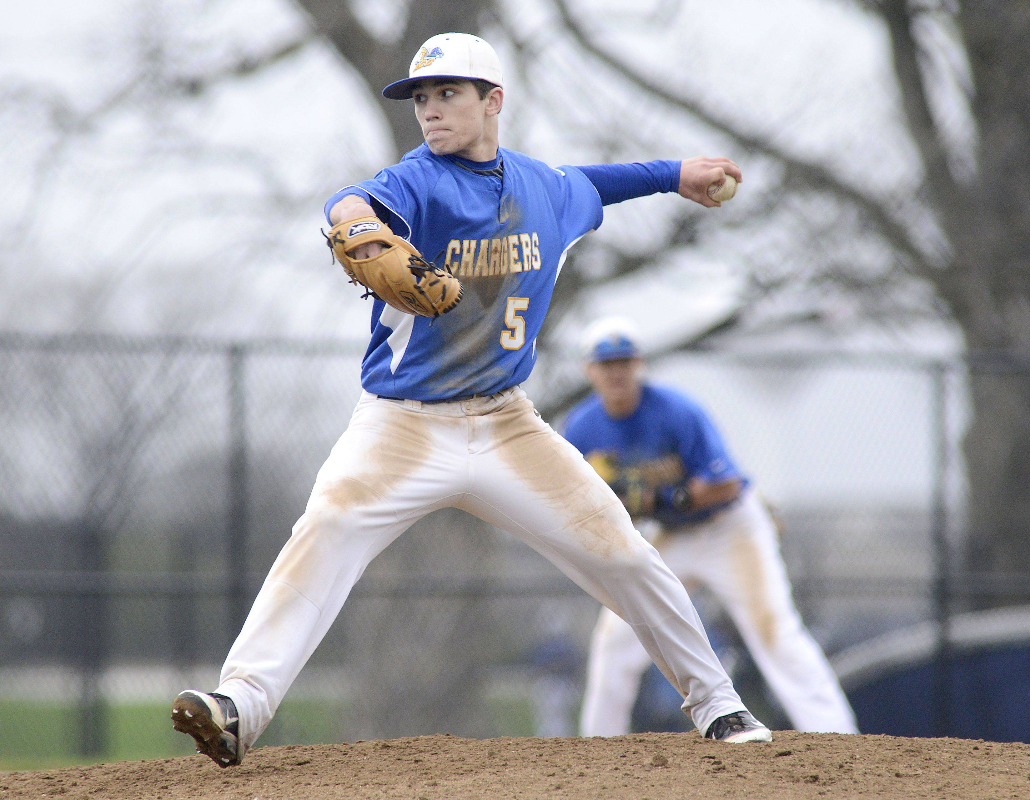 Aurora Central Catholic pitcher Mike Fidler on Thursday, May 2.
