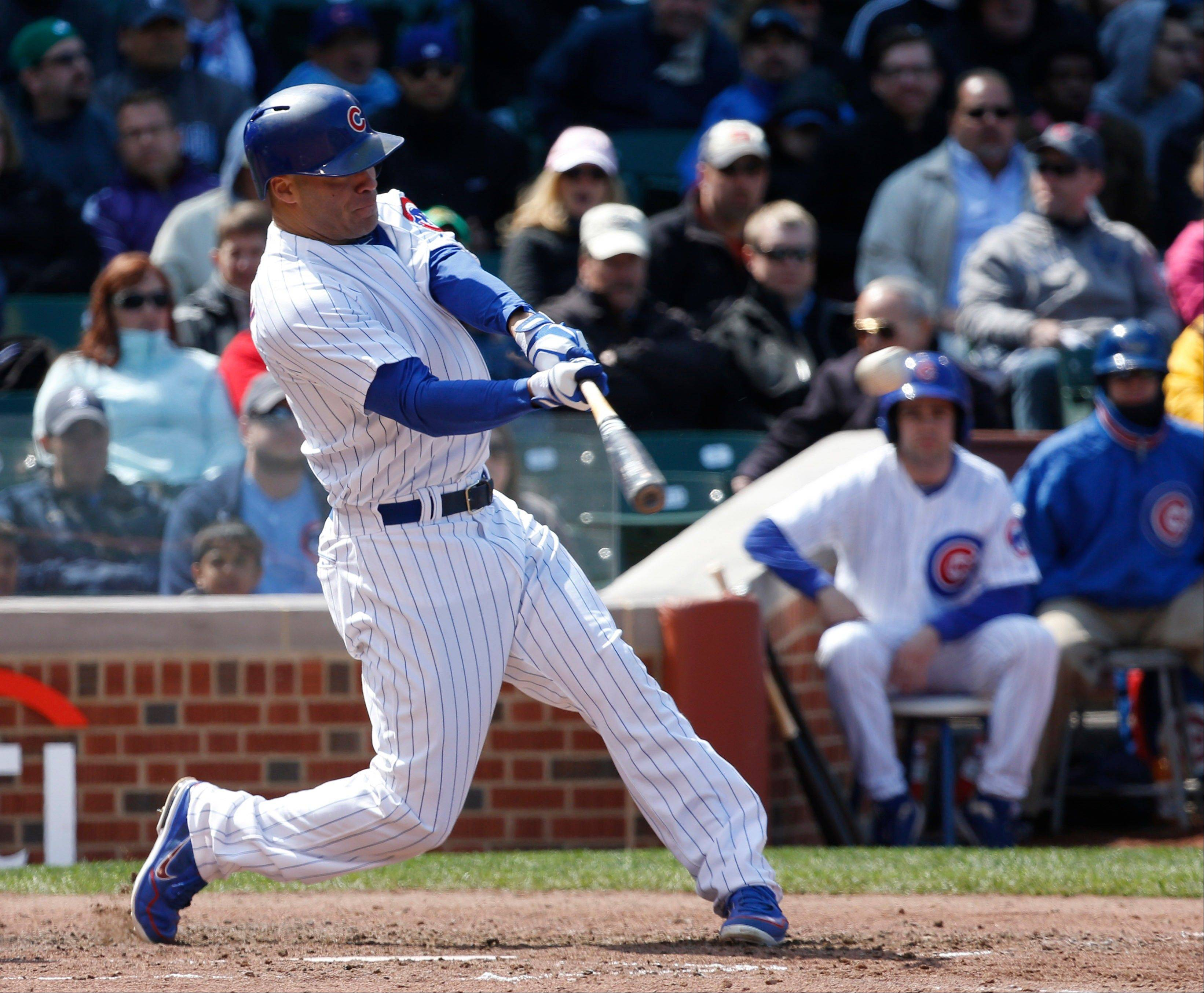 Scott Hairston launches a two-run home run off San Diego Padres starting pitcher Eric Stults to give the Cubs a short-lived 2-0 lead Thursday.