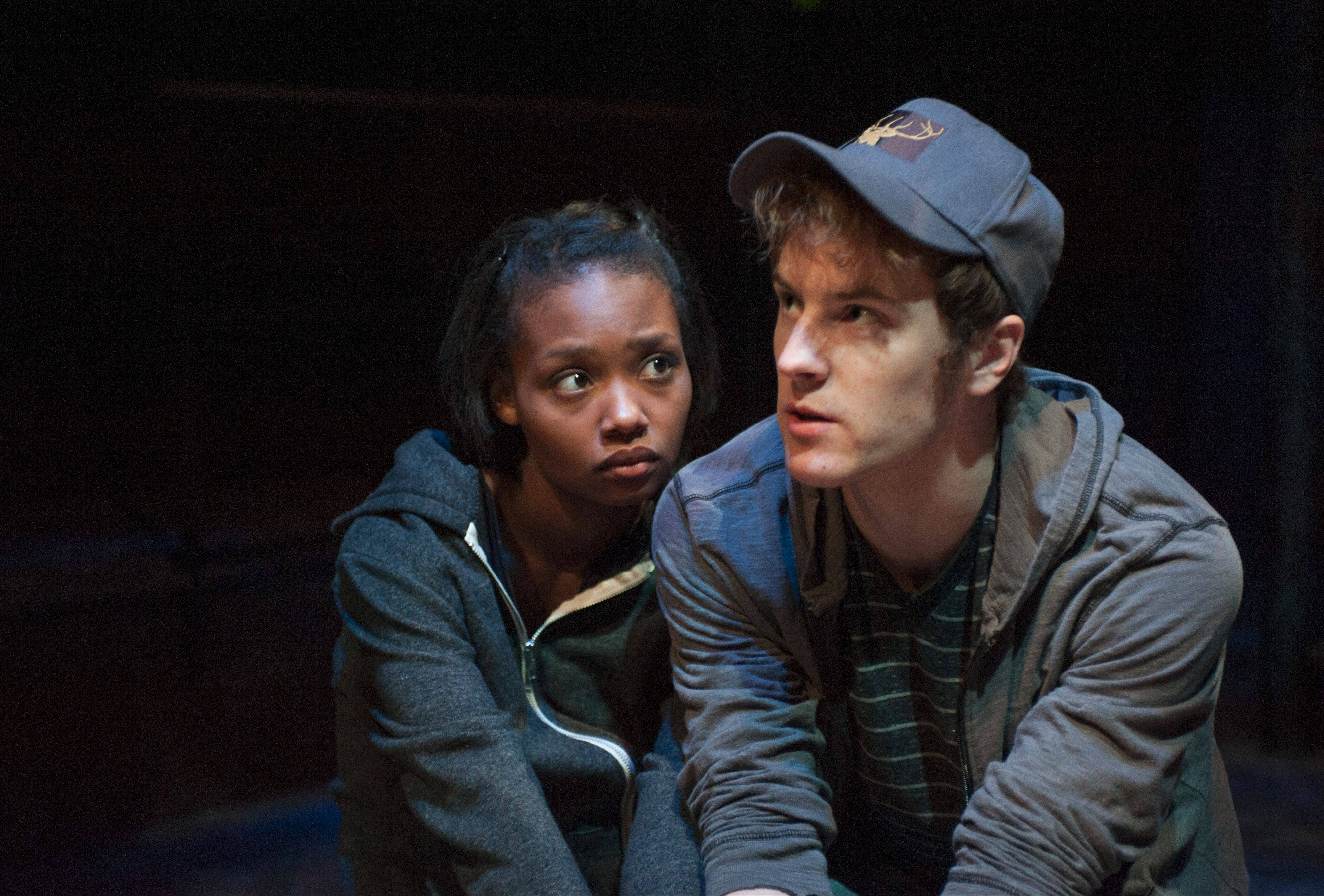 "Ashleigh LaThrop and Josh Salt play a pair of alienated teens on the run in the Writers' Theatre production of David Greig's ""Yellow Moon."""