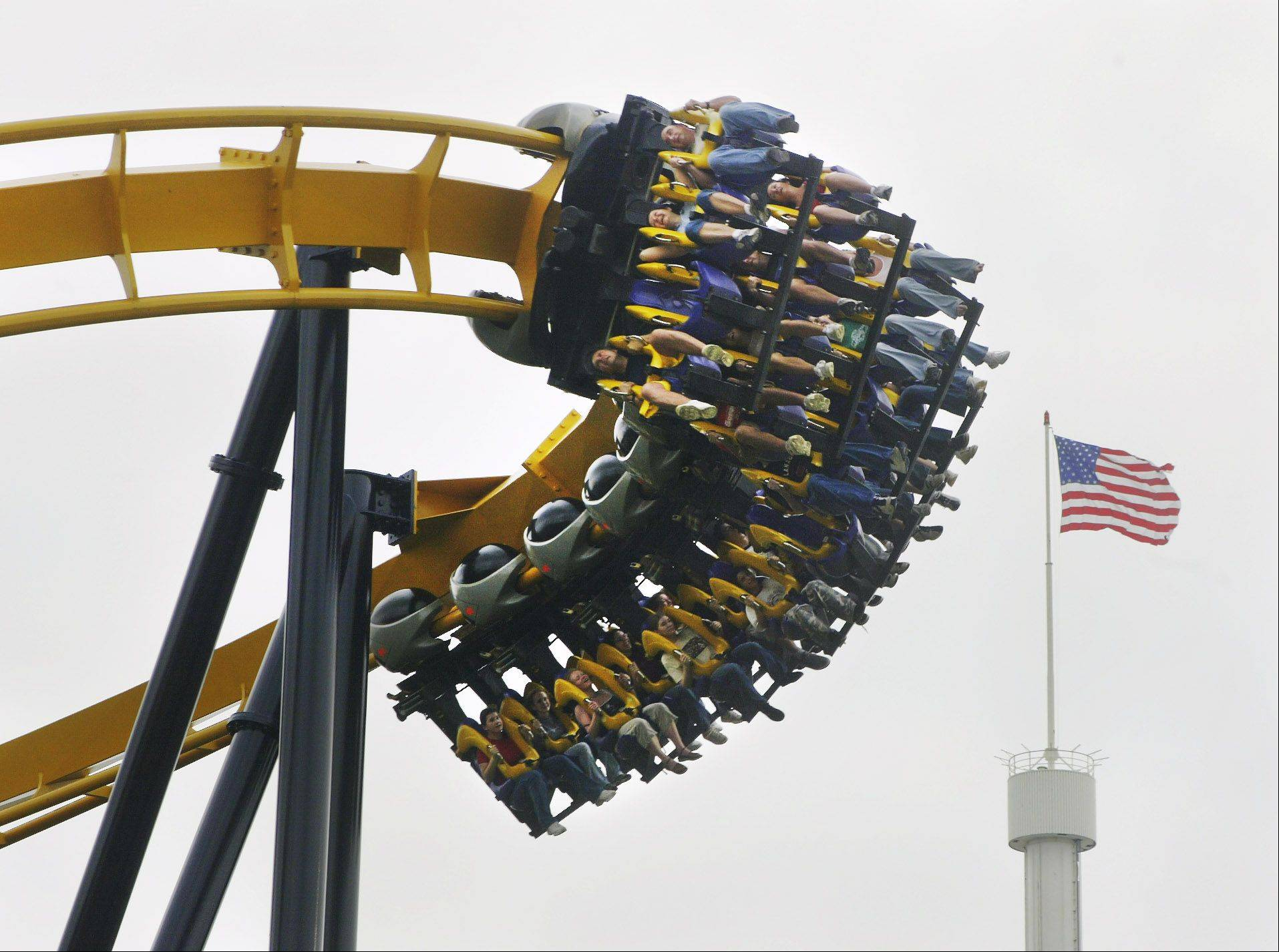 Batman the Ride roller coaster at Six Flags Great America in Gurnee.
