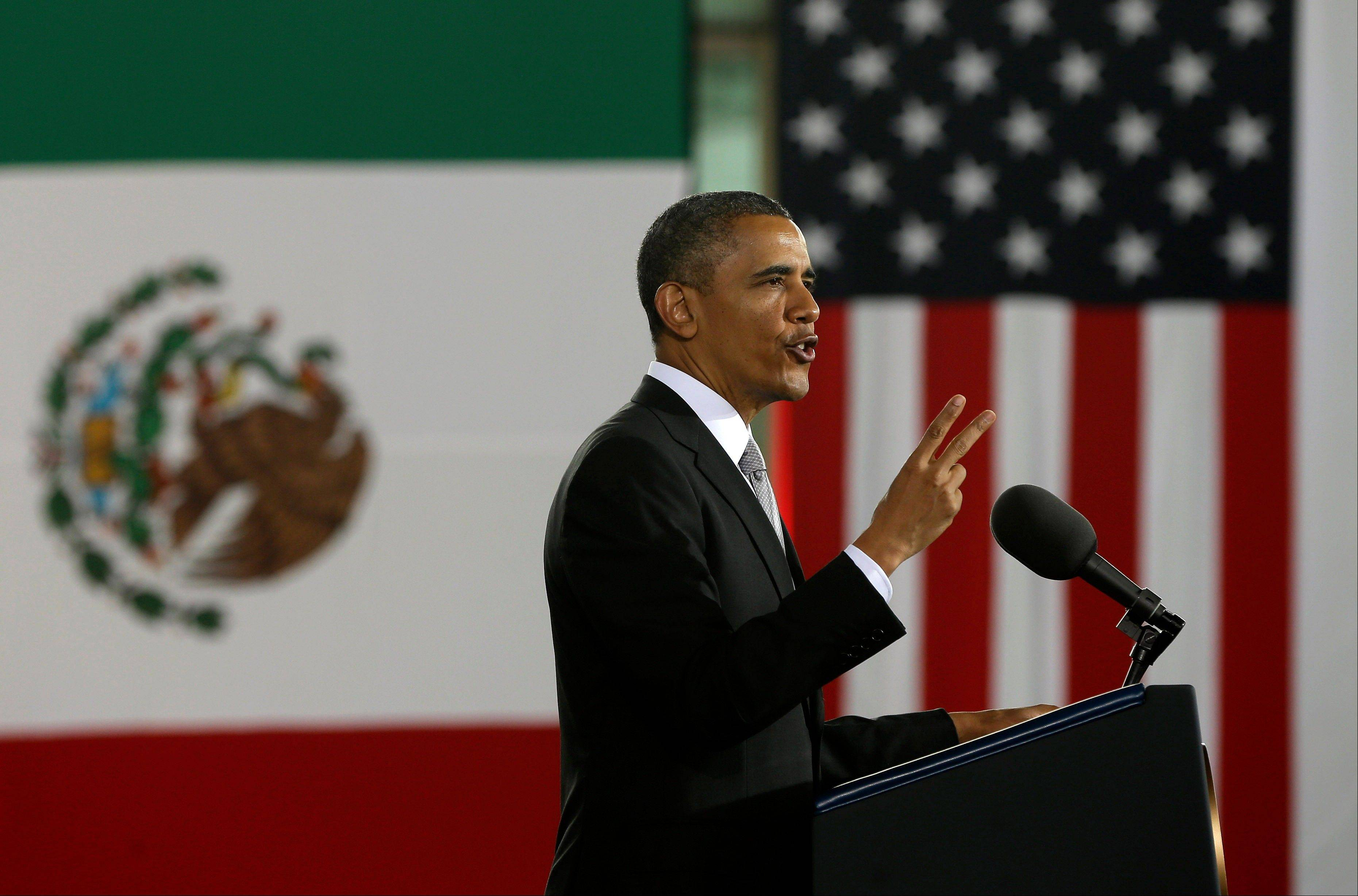 President Barack Obama speaks at the Anthropology Museum in Mexico City, Friday, May 3, 2013.