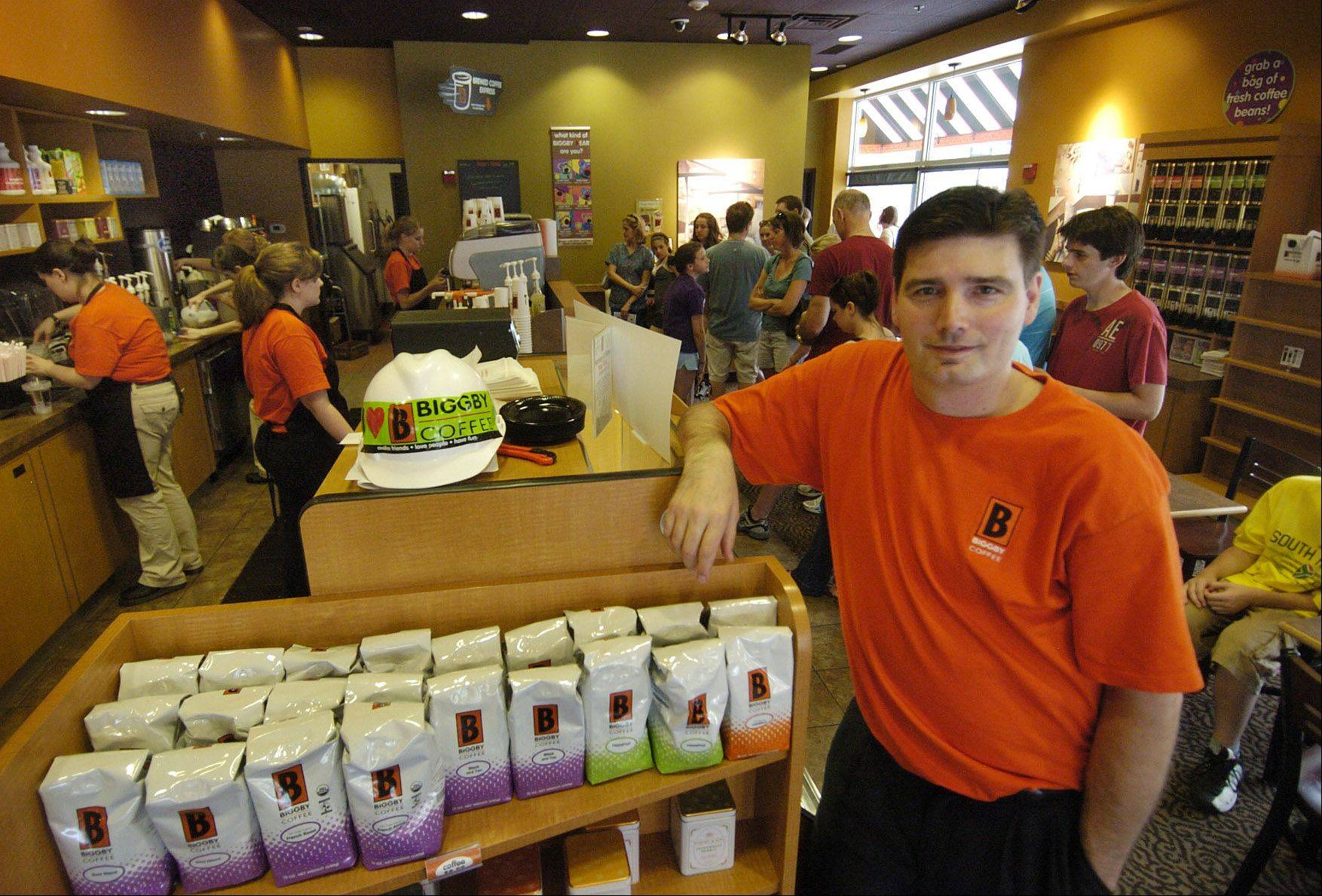Tim Mickelson was the owner of Biggby Coffee shop in Arlington Heights when this picture was taken in 2010. The coffee house closed this week.