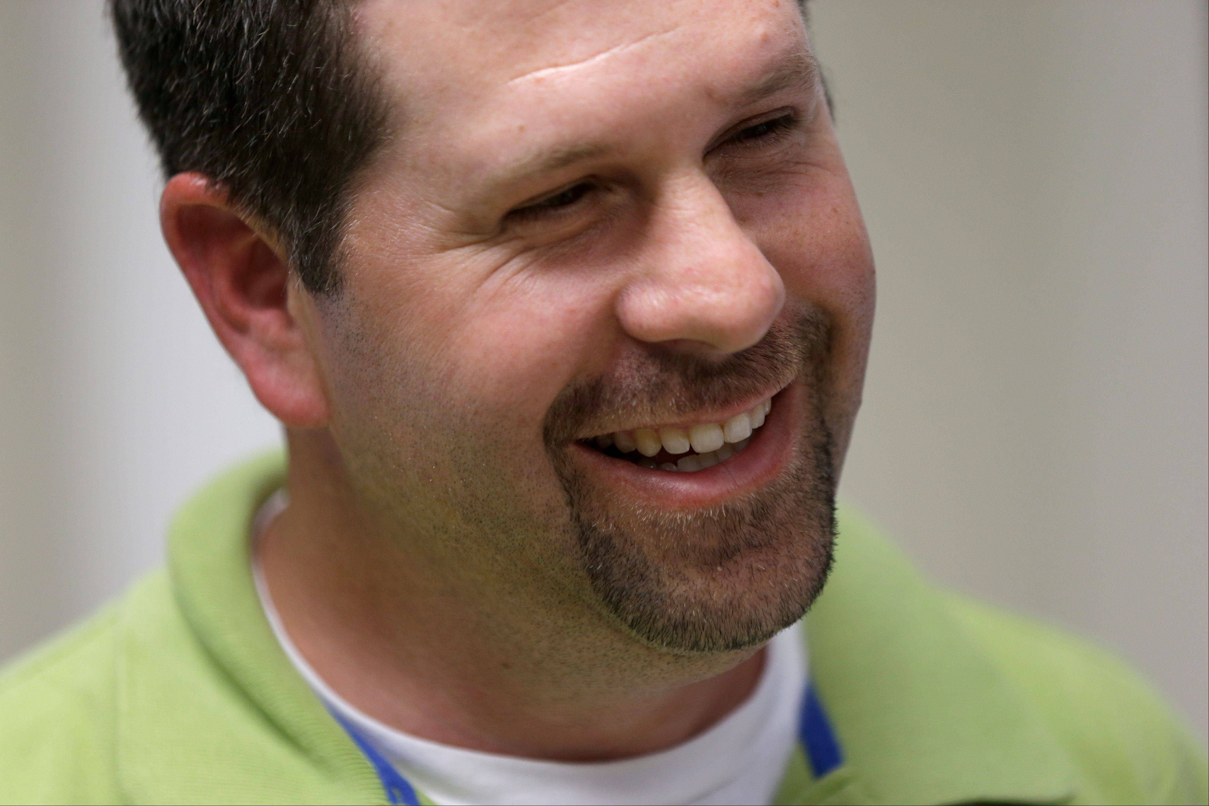 Koger smiles during an interview with the Associated Press, Thursday.
