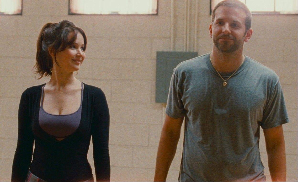 "Pat (Bradley Cooper) befriends a young widow (Jennifer Lawrence) in ""Silver Linings Playbook,"" now on DVD."