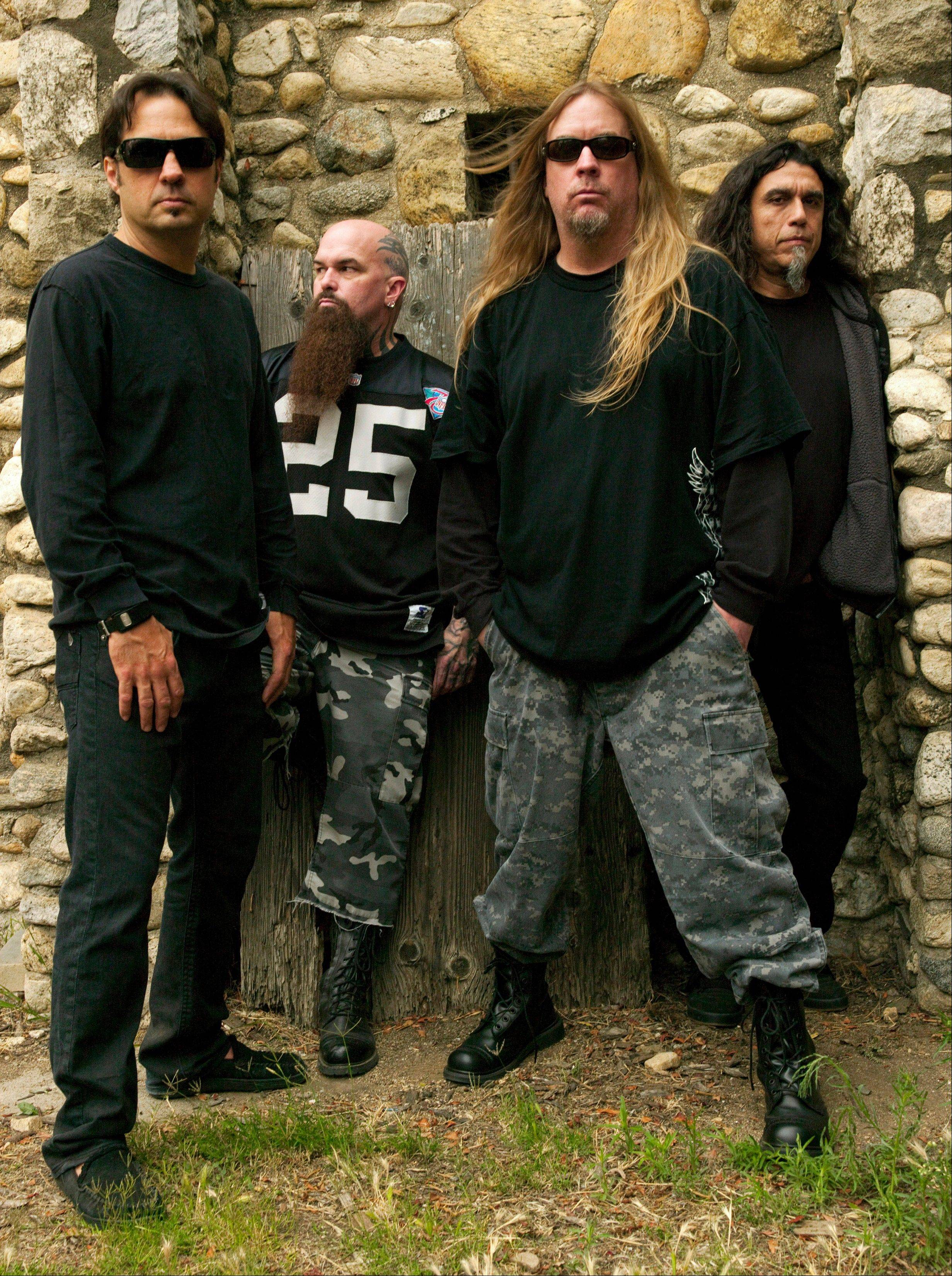 Dave Lombardo, left, Kerry King, Jeff Hanneman and Tom Araya comprised Slayer. Hanneman, 49, a founding member of the heavy metal band, has died of liver failure.