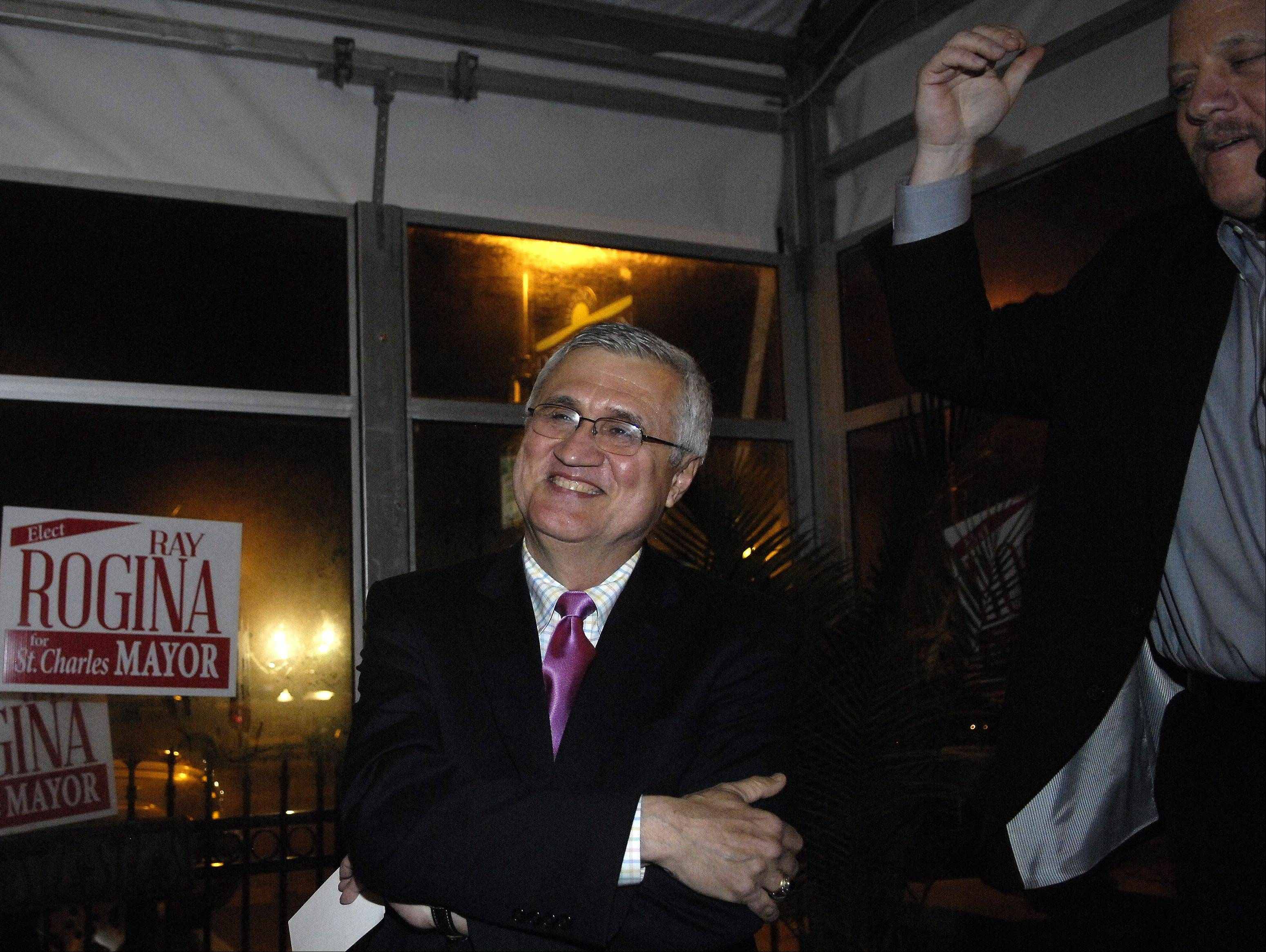 Ray Rogina is introduced as the new mayor of St. Charles by Alderman Dan Stellato on election night last month.
