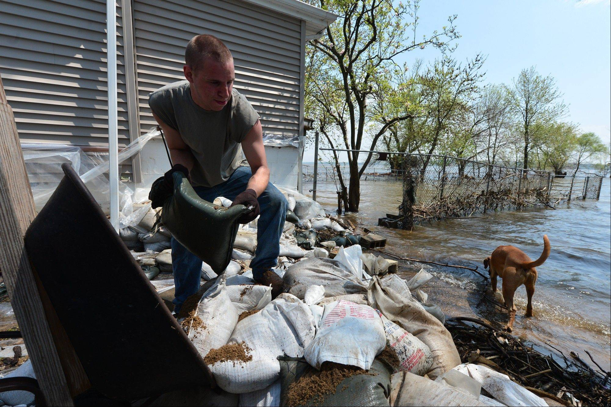 Ian Jones helps move sandbags to build back up a wall on along Riverview Road Thursday, May 2, 2013, south of Chillicothe, Ill., against the Illinois River as predicted rain is expected to raise the river several inches after receding from historic flood levels.