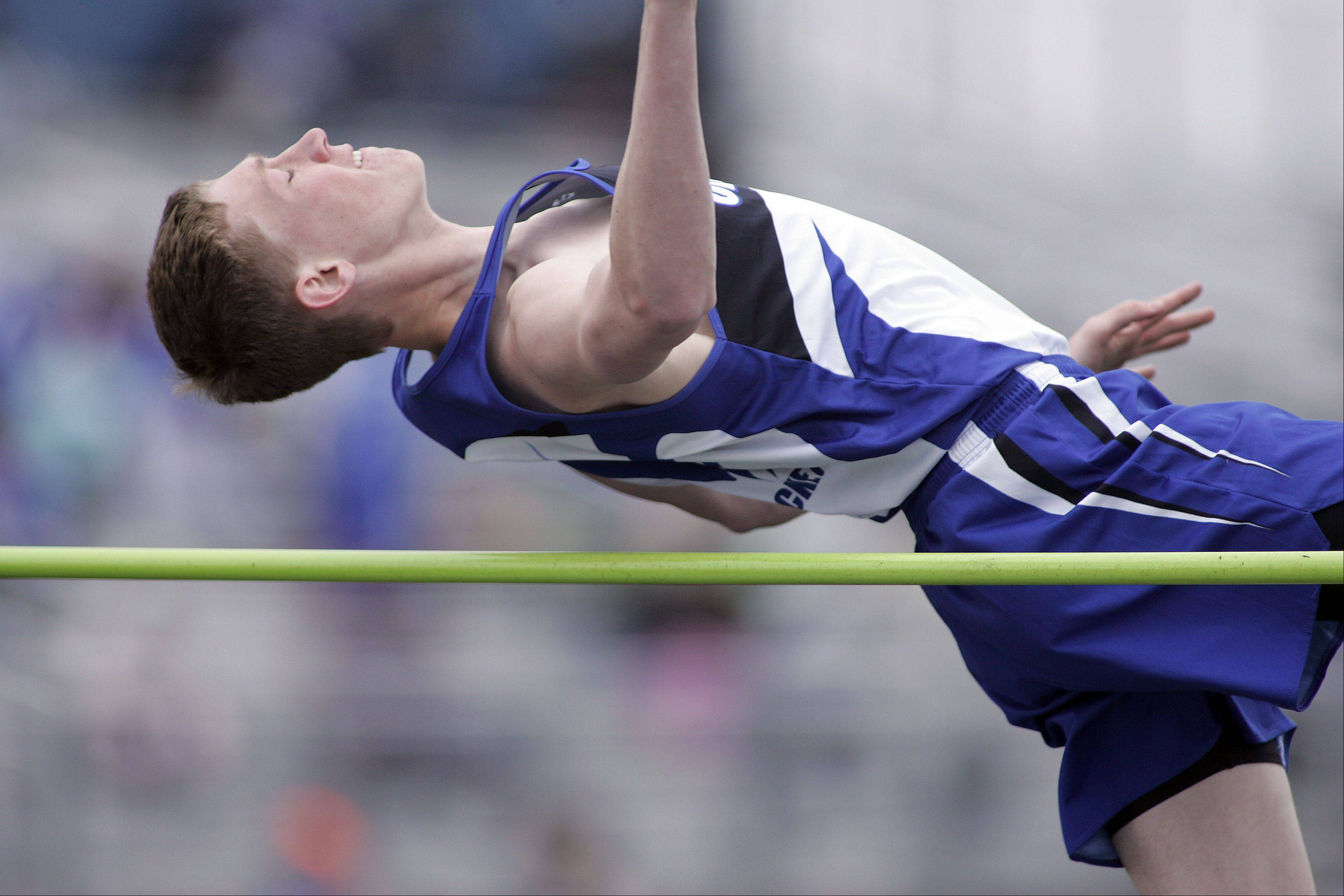 Central's Dan McCurdy competes in the high jump during the Kane County boys track meet Friday at Burlington Central.