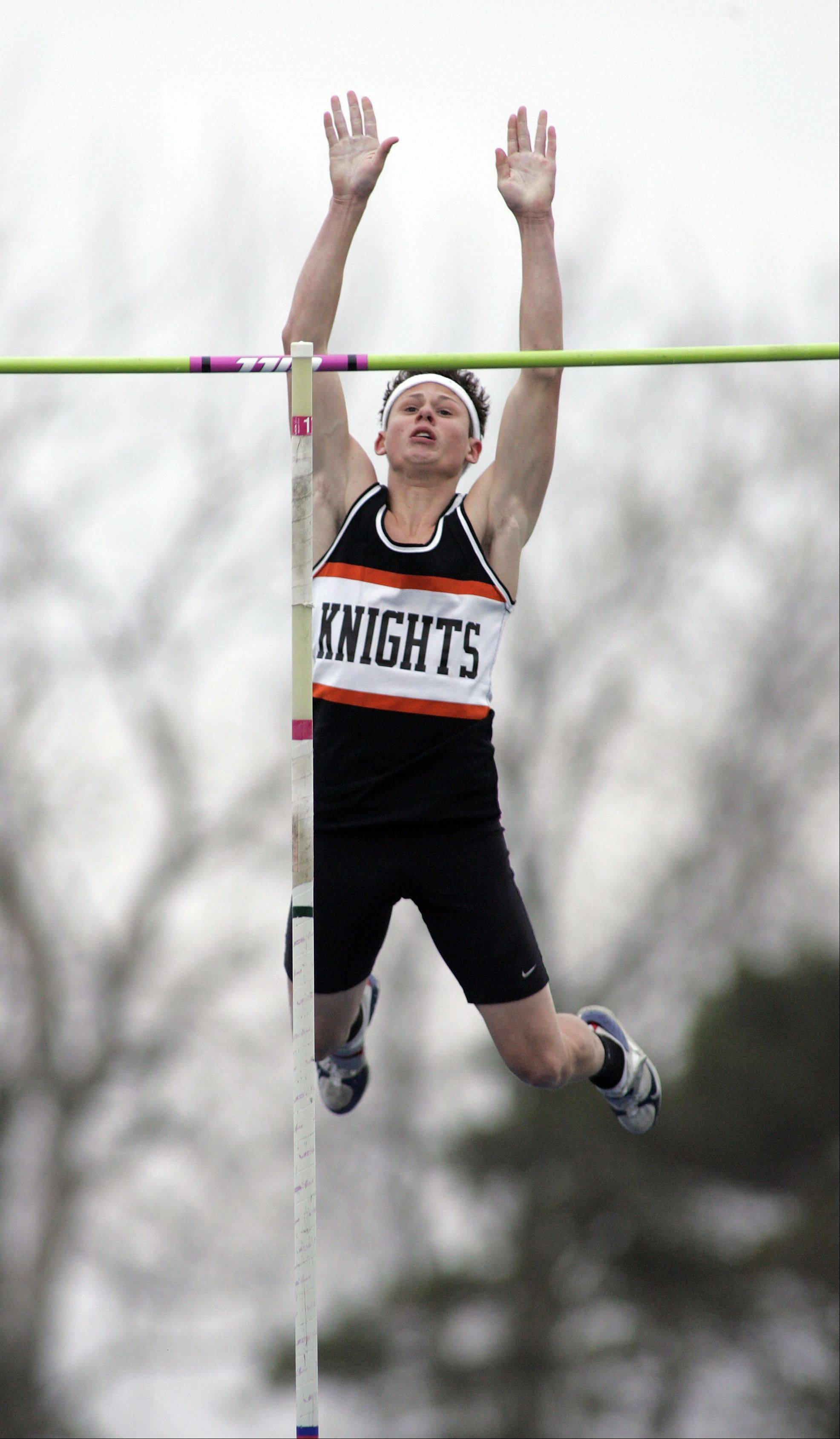 Kaneland's Dylan Kuipers competes in the pole vault during the Kane County boys track meet Friday at Burlington Central.