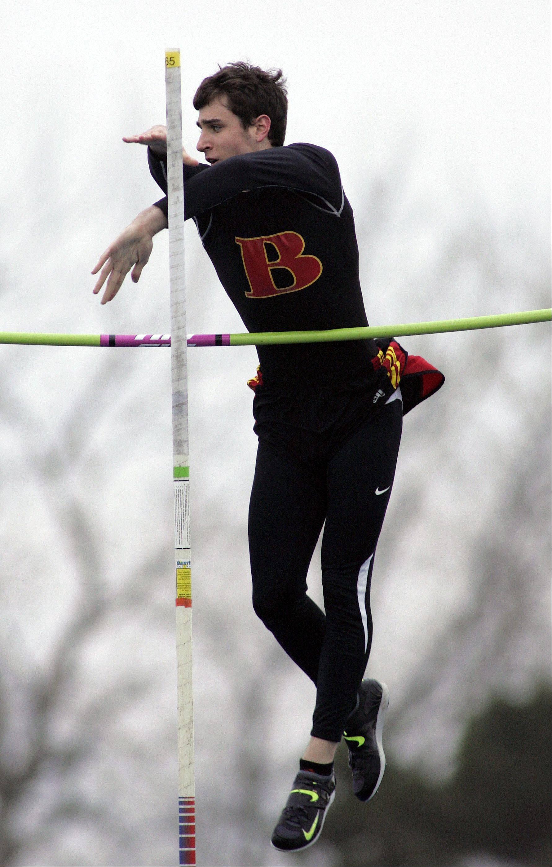 Batavia's RJ Viereckl competes in the pole vault during the Kane County boys track meet Friday at Burlington Central.