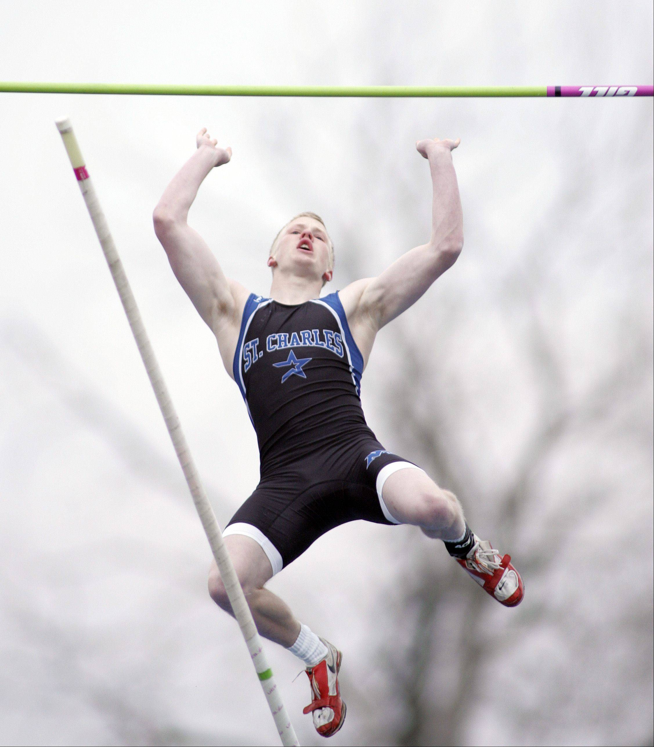 Kaleb Kirby of St. Charles North competes in the pole vault during the Kane County boys track meet Friday at Burlington Central.