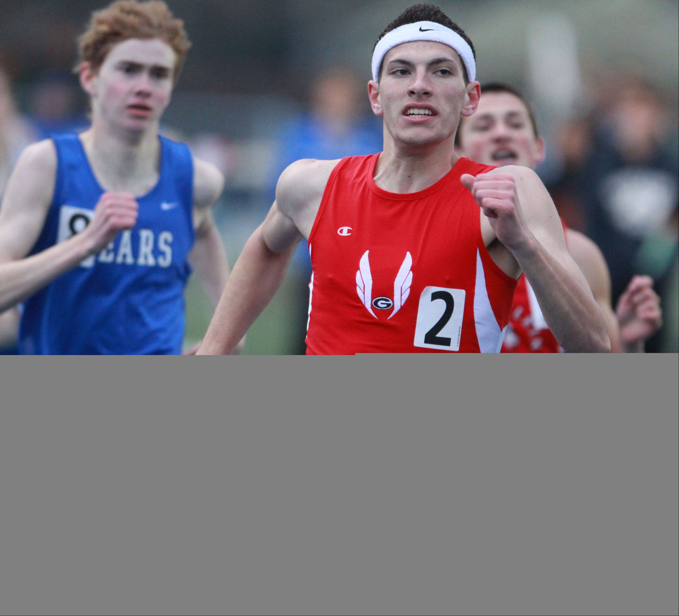 Grant's Kyle Hatton wins the 800-meter run during the Lake County boys track meet at Lake Zurich on Friday.