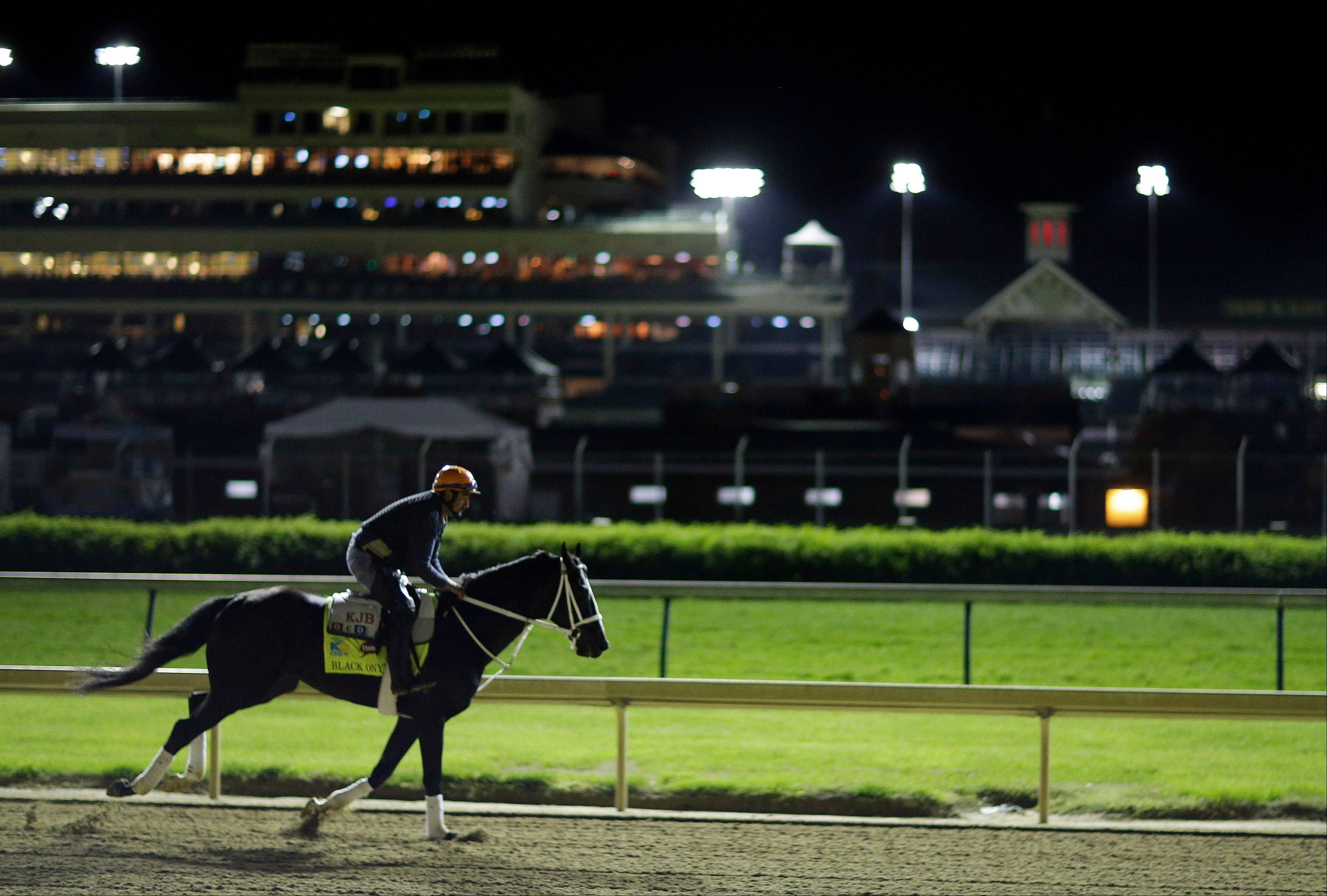 Kentucky Derby entrant Black Onyx goes for a morning workout at Churchill Downs Friday in Louisville, Ky. Black Onyx was later scratched from the Kentucky Derby.