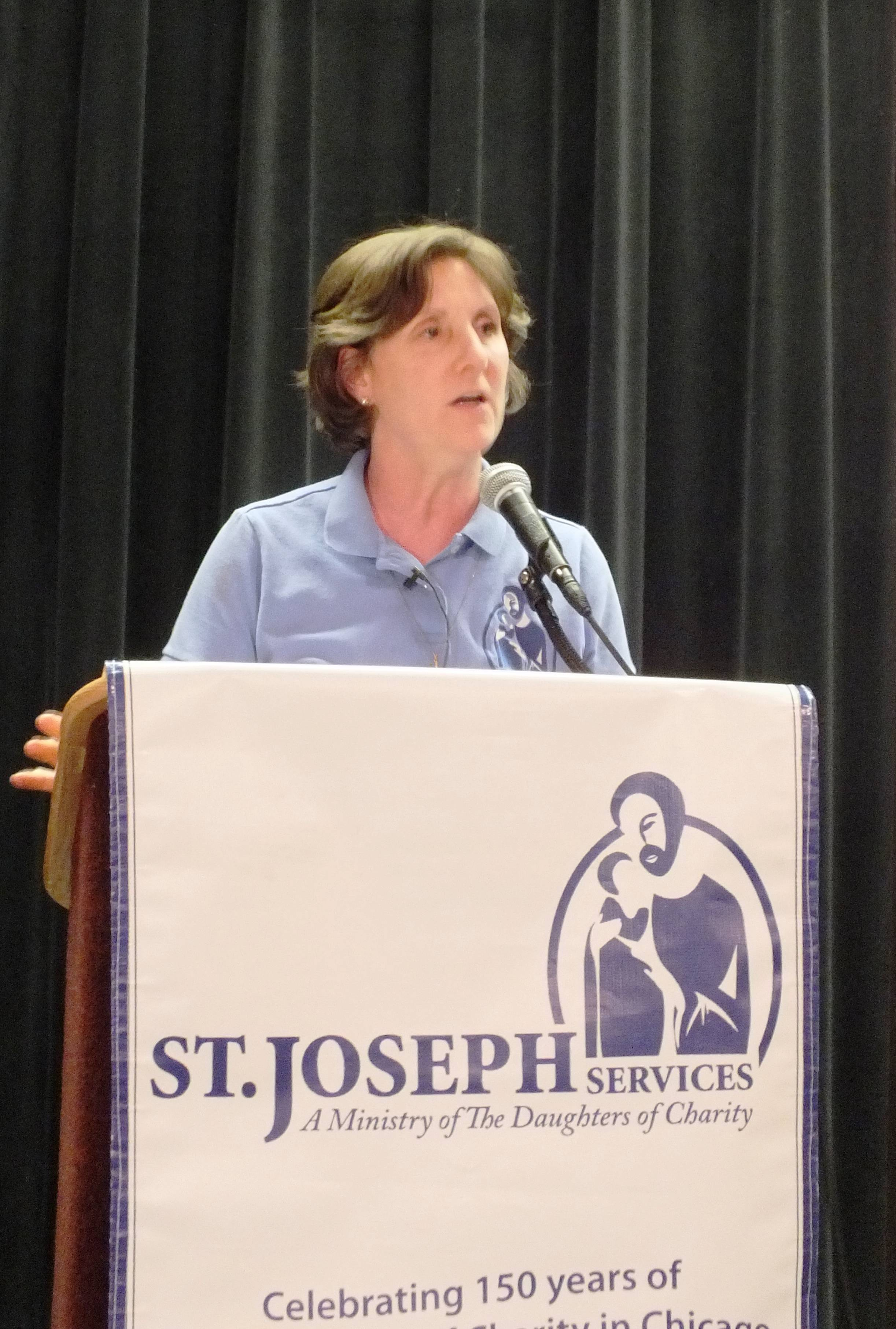 St. Joseph Services executive director Lisa Sullivan is grateful to Accretive Health for its philanthropy.