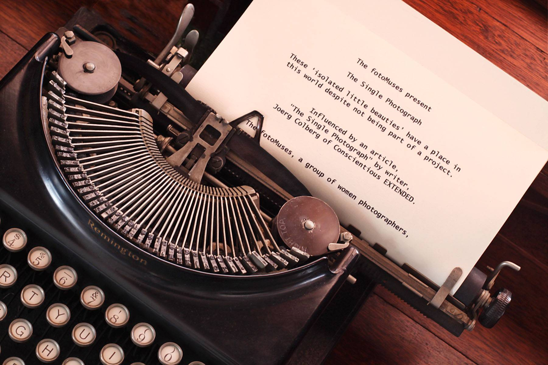 "Created for display on the entrance wall of the museum, Blanken chose her father's old typewriter as the subject to demonstrate Joerg Colberg's blogging influence on the fotoMuses latest exhibit, ""The Single Photograph."" Exhibit dates are Saturday, May 11 - June 22 with a complimentary reception to be held from 2-4 p.m., Sunday, May 19 at the Bloomingdale Park District Museum."