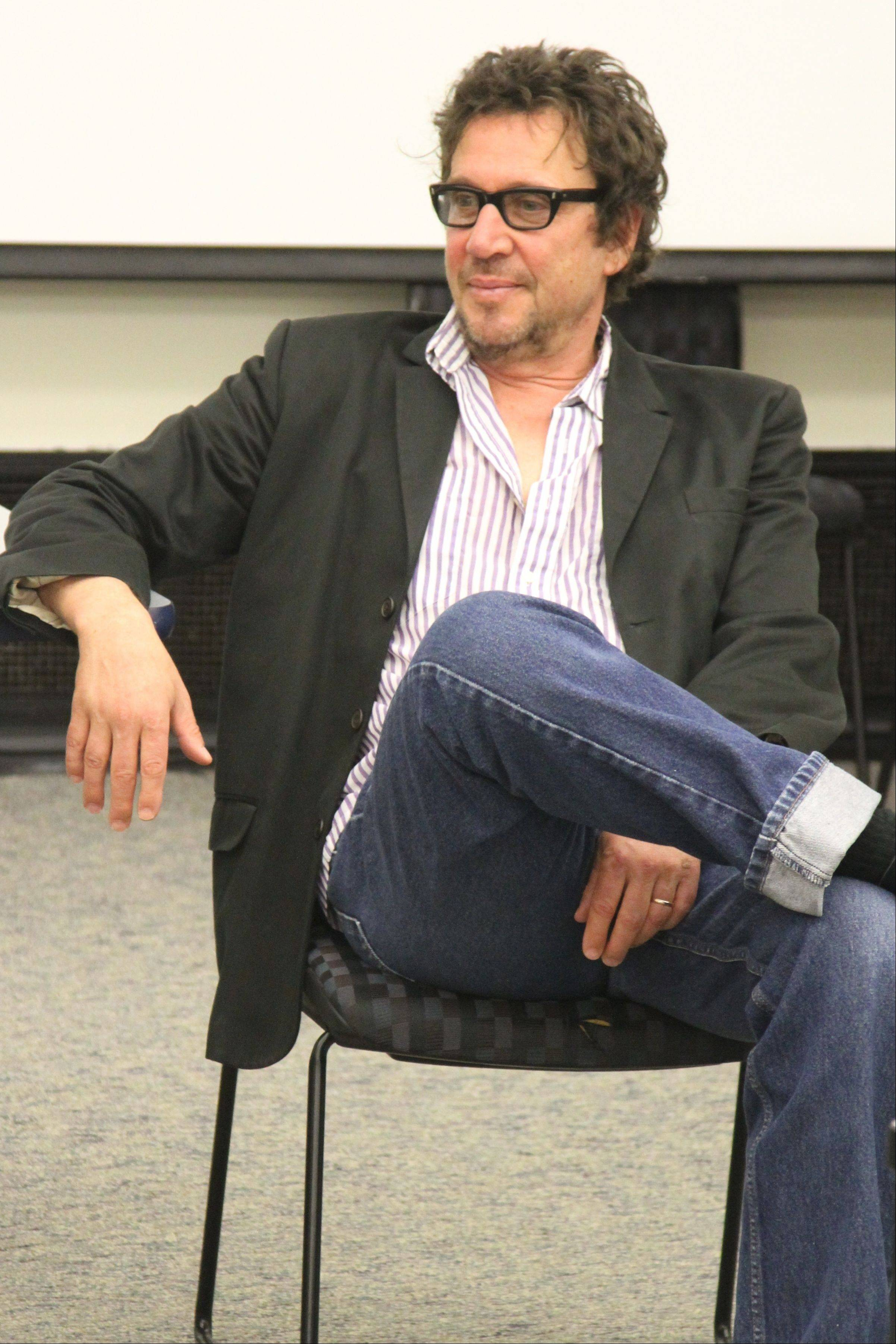 Punk rock musician and author Richard Hell, frontman of Richard Hell and the Voidoids, visits with Harper's class on the 1970s punk rock movement.