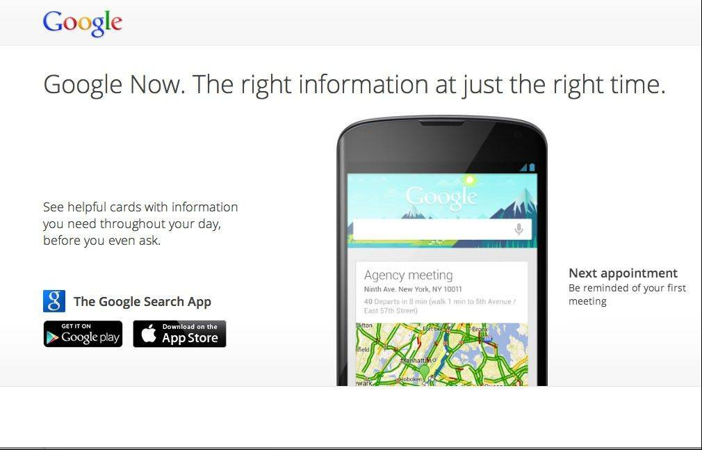 "This undated image made available by Google shows ""Google Now."" Google is trying to upstage Siri, the sometimes droll assistant that answers questions and helps people manage their lives on Apple's iPhone and iPad. The duel begins Monday, April 29, 2013, with the release of a free iPhone and iPad app that features Google Now, a technology that performs many of the same functions as Siri."