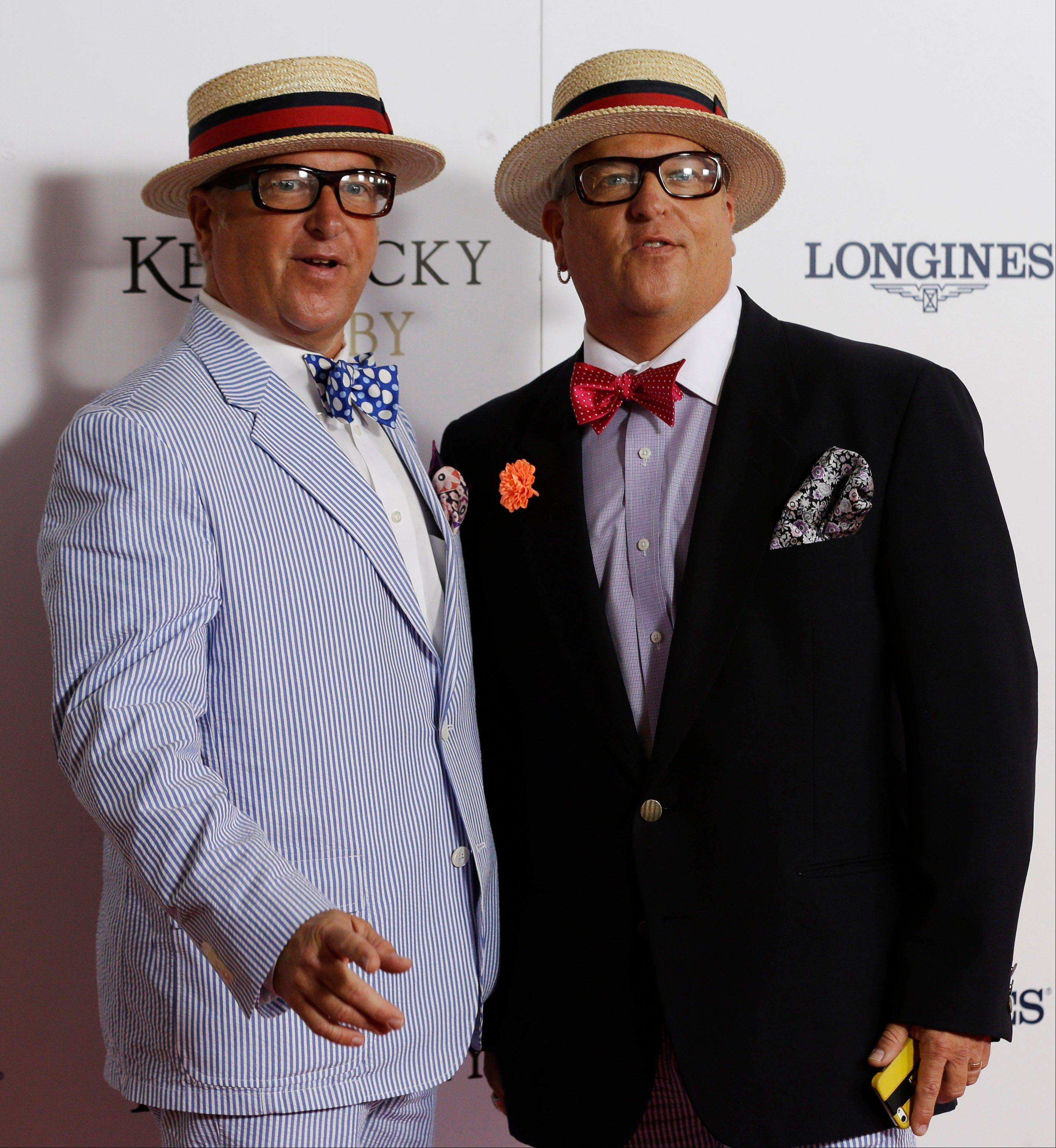 """Storage Wars"" starts Matt and Mark Harris, left, arrive to attend the 139th Kentucky Derby."