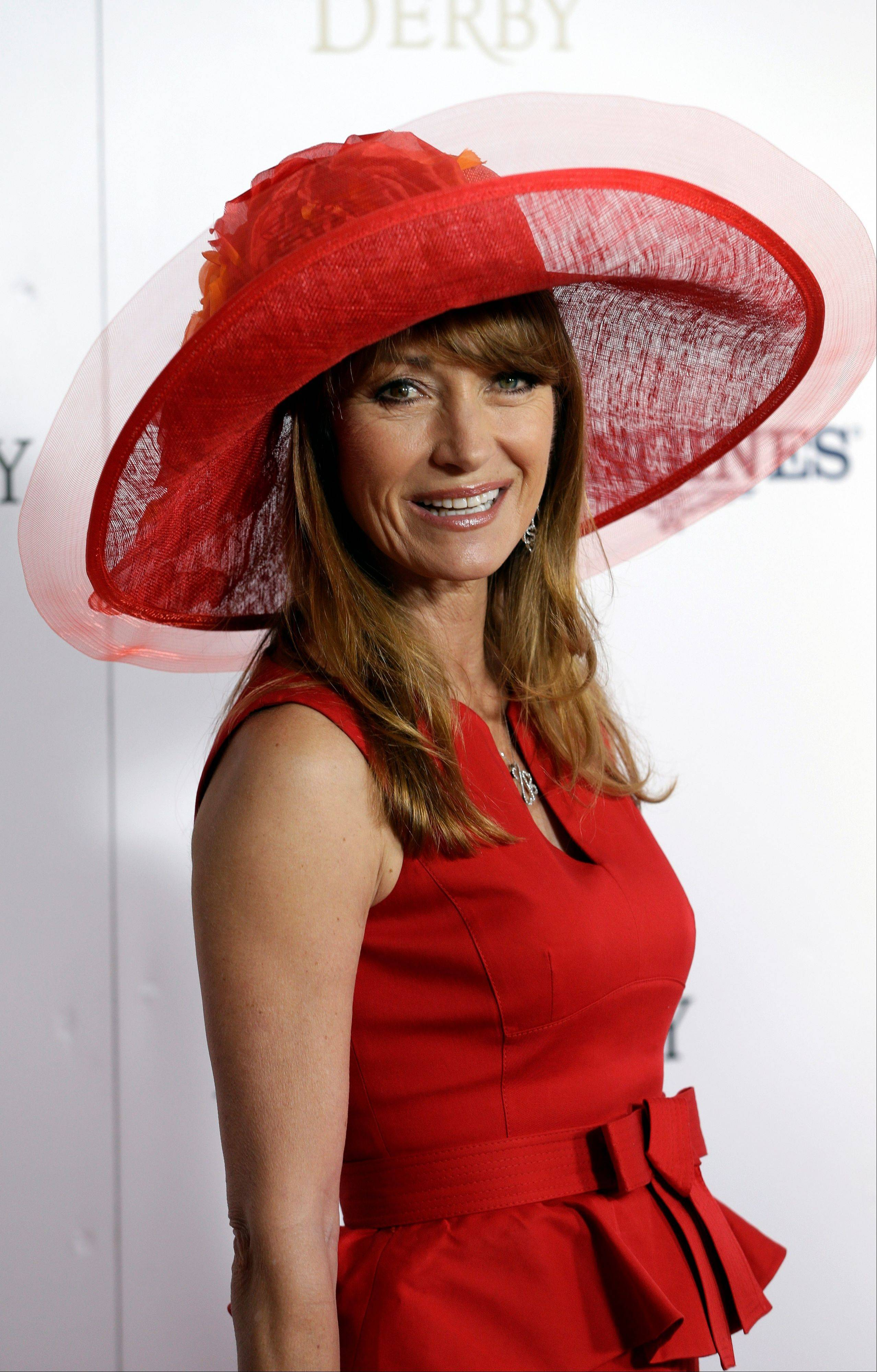 Actress Jane Seymour arrives to attend the 139th Kentucky Derby at Churchill Downs.