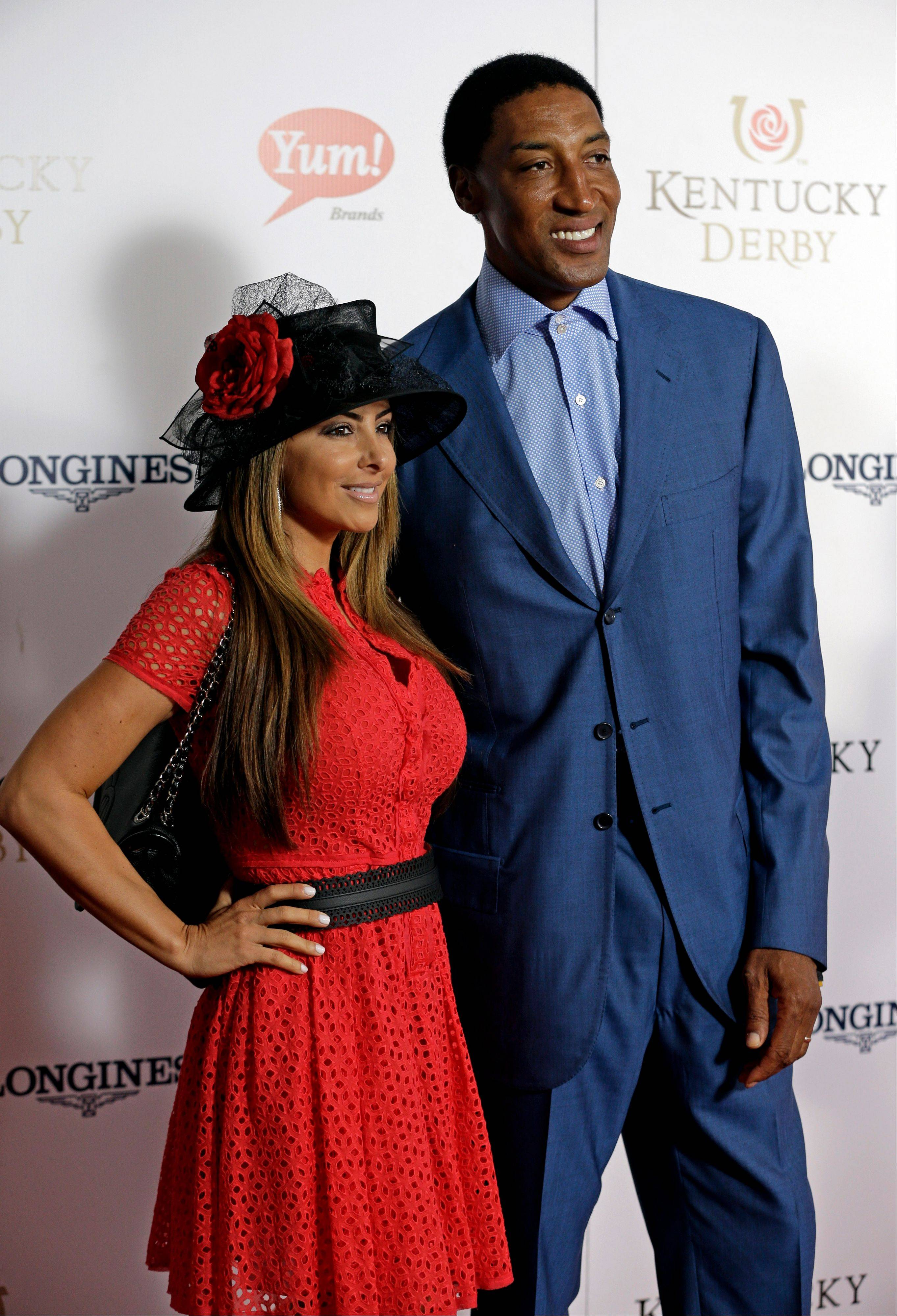 Former NBA player Scottie Pippen arrives with his wife Larsa to attend the 139th Kentucky Derby.