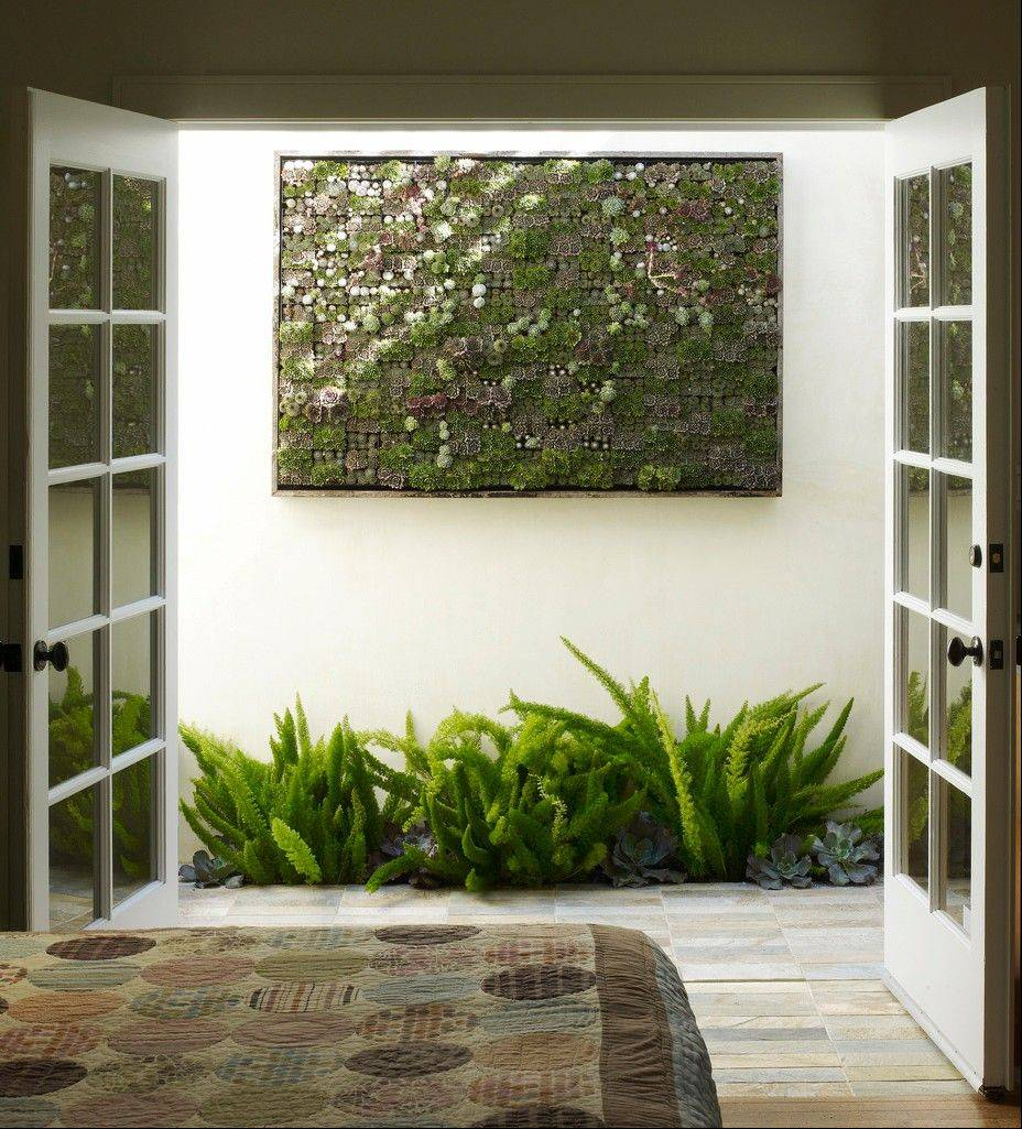 A large living succulent picture hanging outside a bedroom.